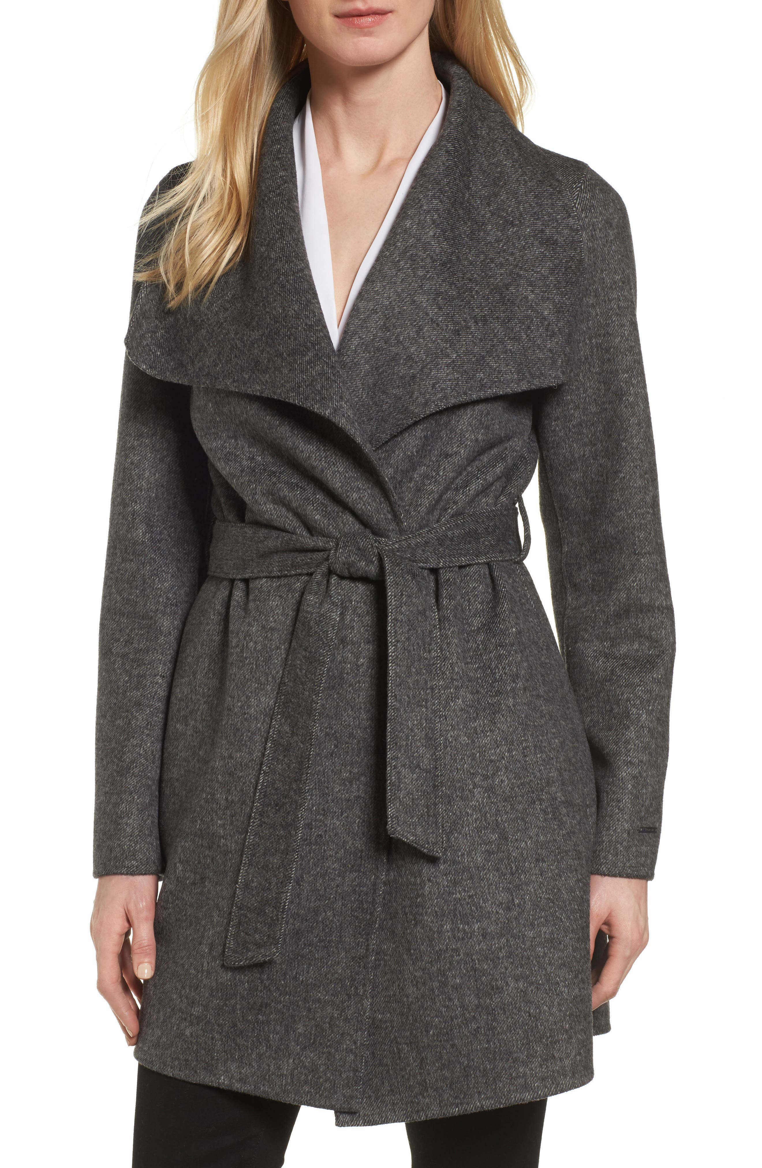 'Ella' Belted Double Face Wool Blend Wrap Coat,                             Main thumbnail 1, color,                             Grey Twill