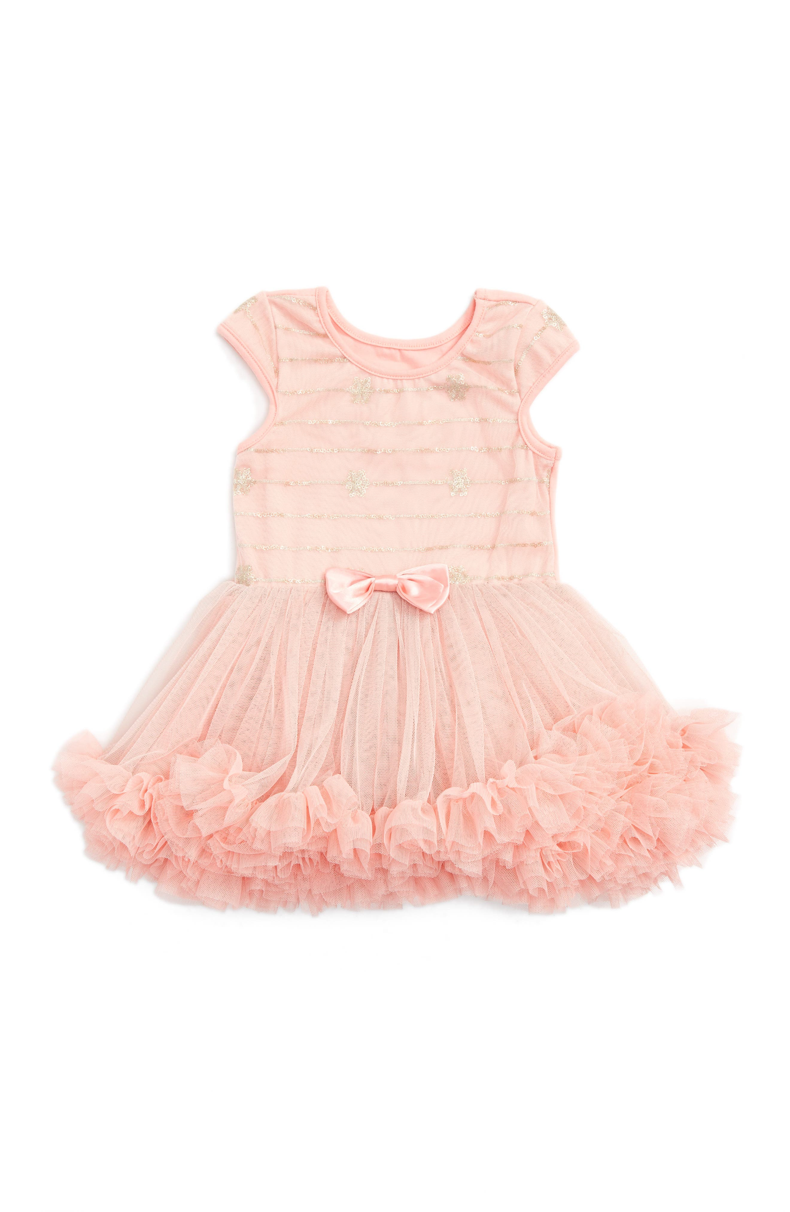 Sequin Tulle Dress,                         Main,                         color, Peach