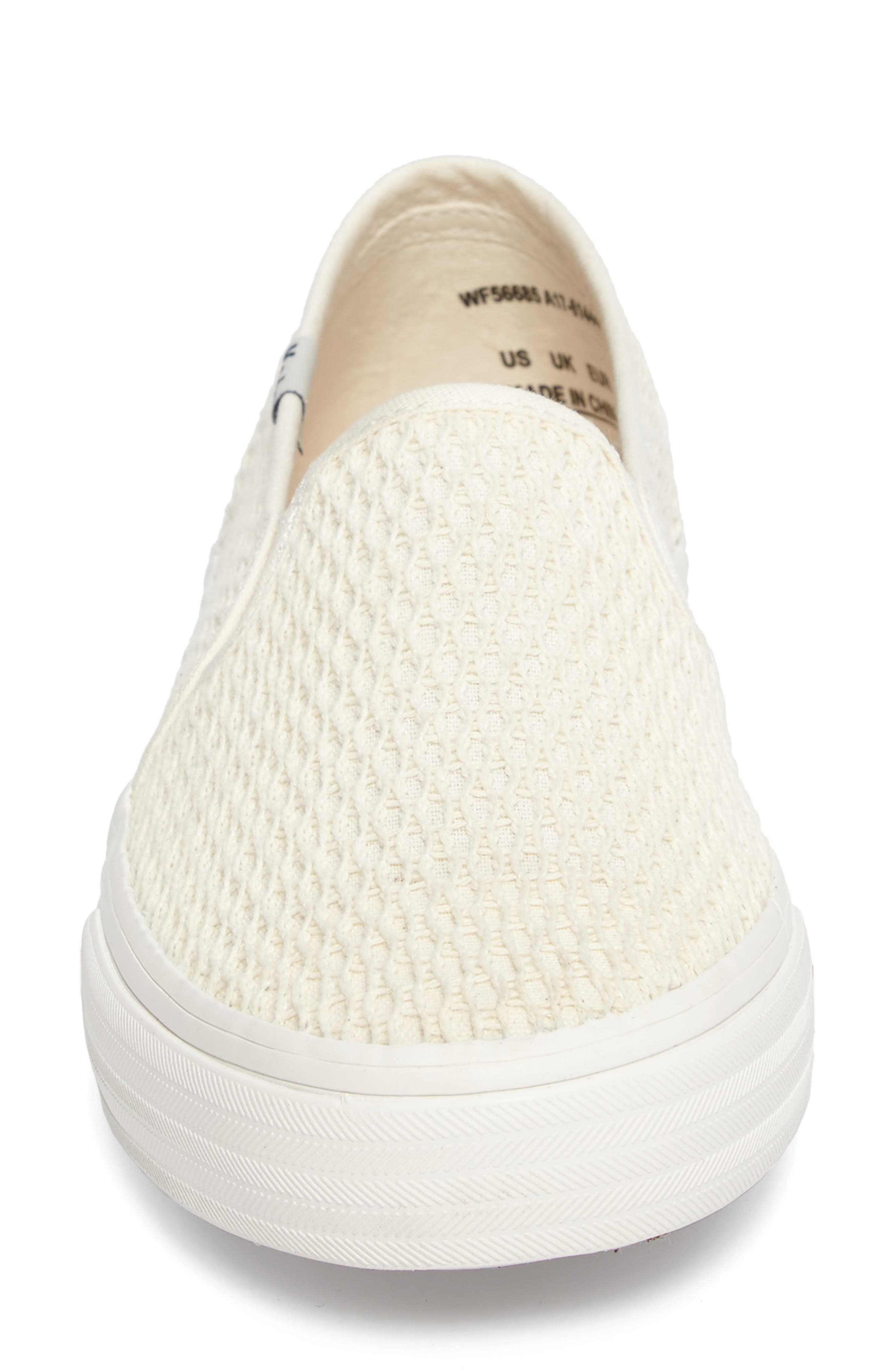 Double Decker Crochet Slip-On Sneaker,                             Alternate thumbnail 4, color,                             Cream