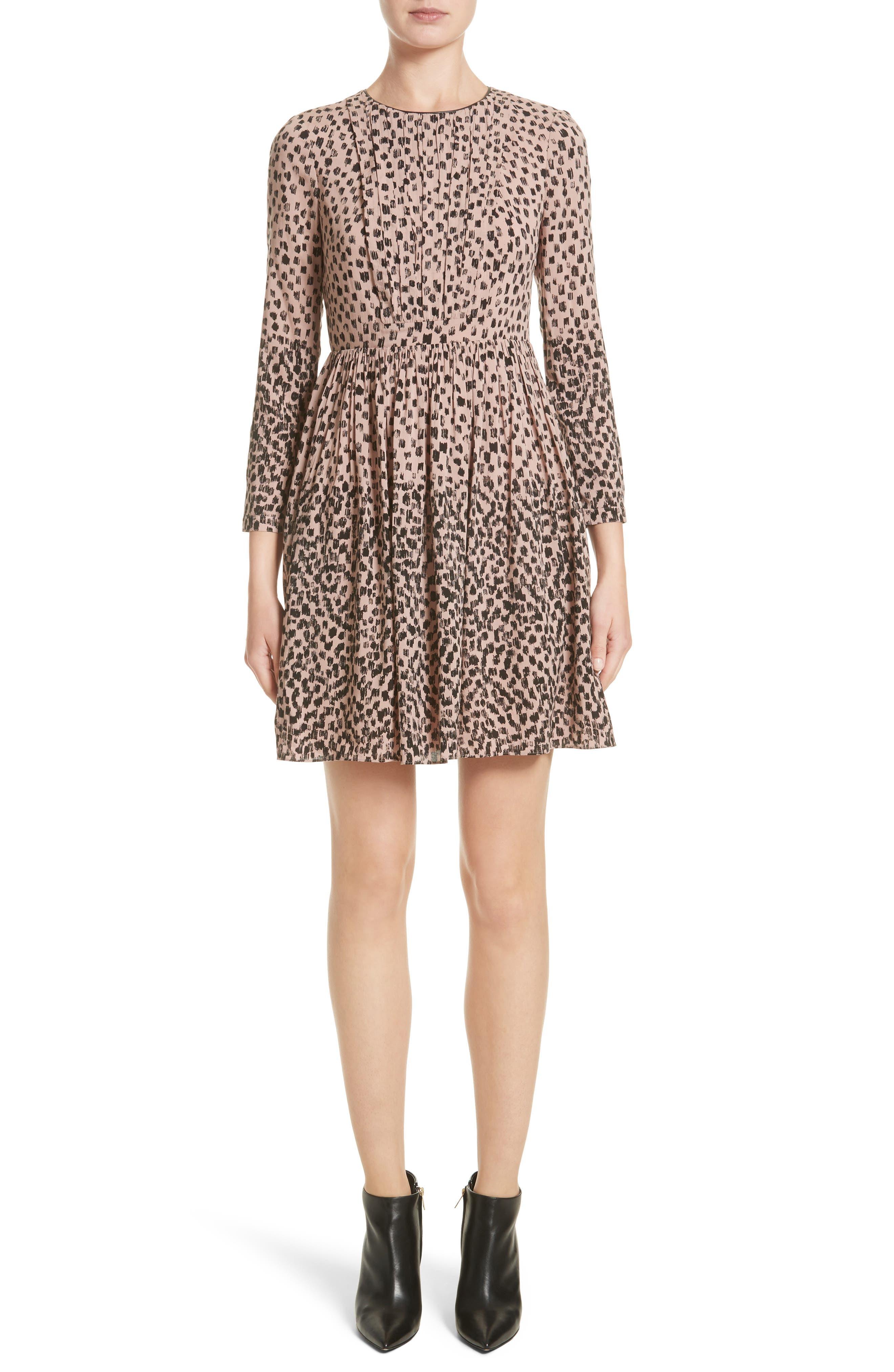 Karinkalt Leather Trim Print Dress,                         Main,                         color, Pale Pink