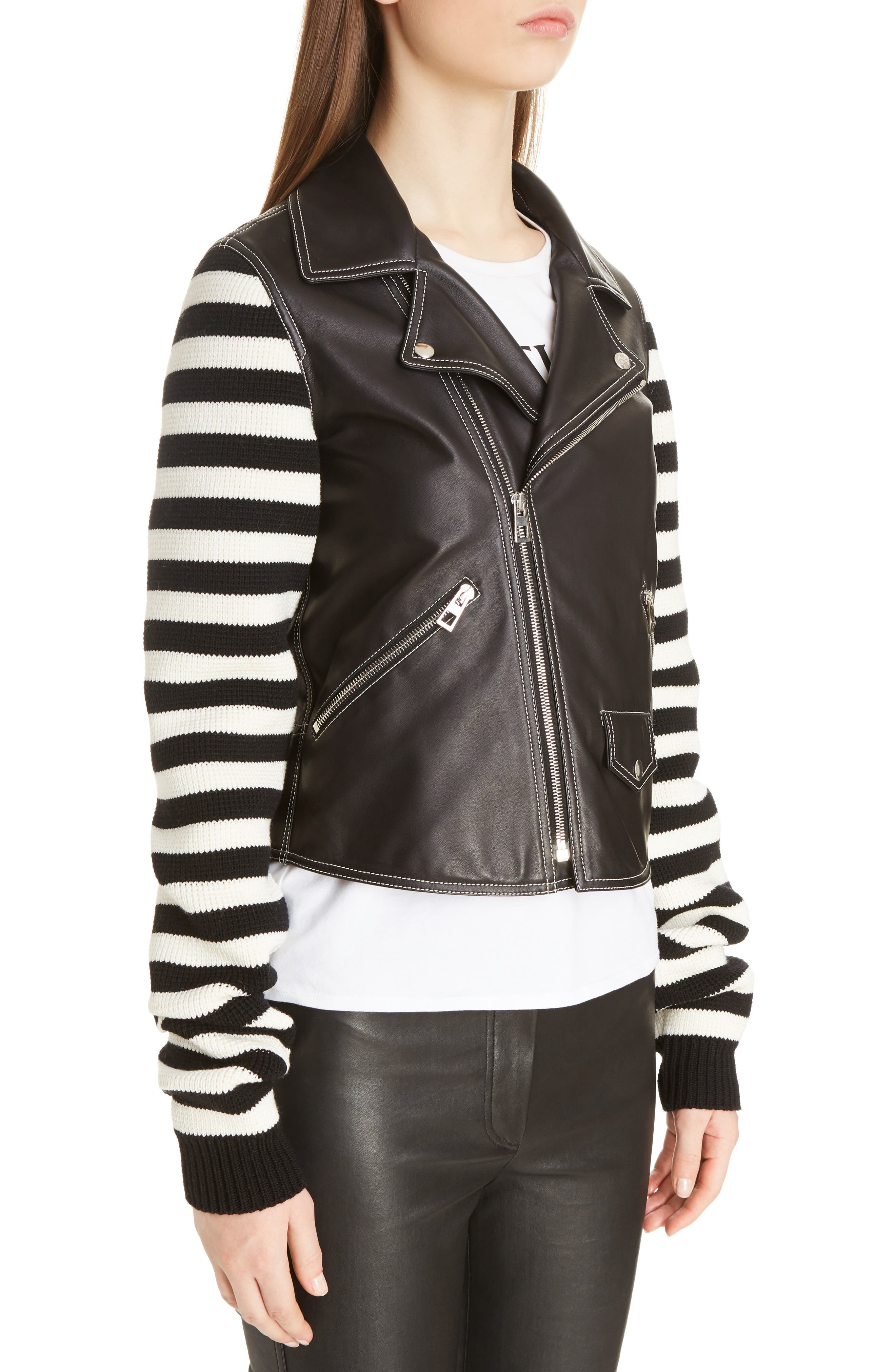 Alternate Image 5  - Loewe Stripe Knit & Leather Biker Jacket