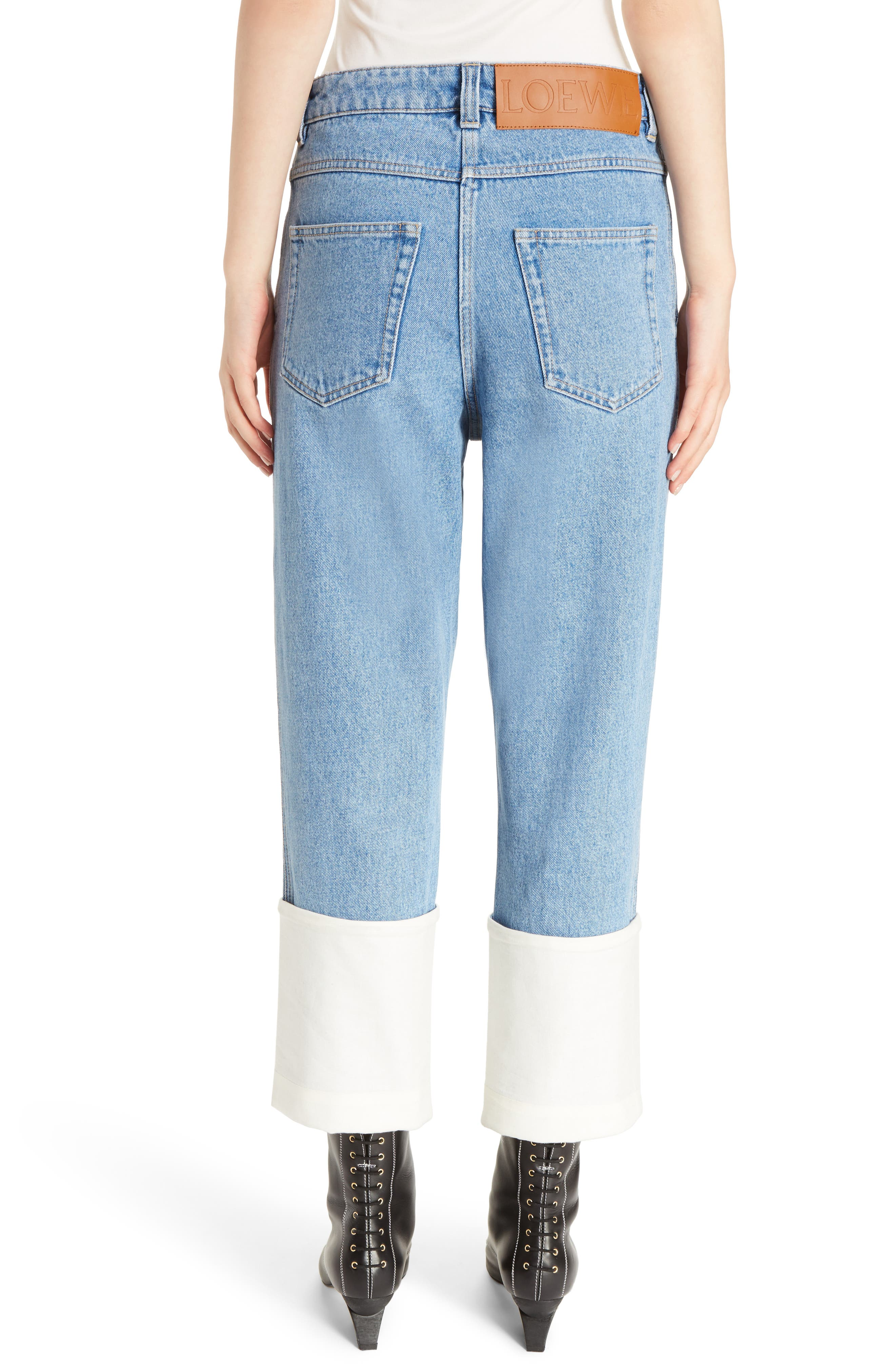 Fisherman Cuffed Jeans,                             Alternate thumbnail 2, color,                             Blue