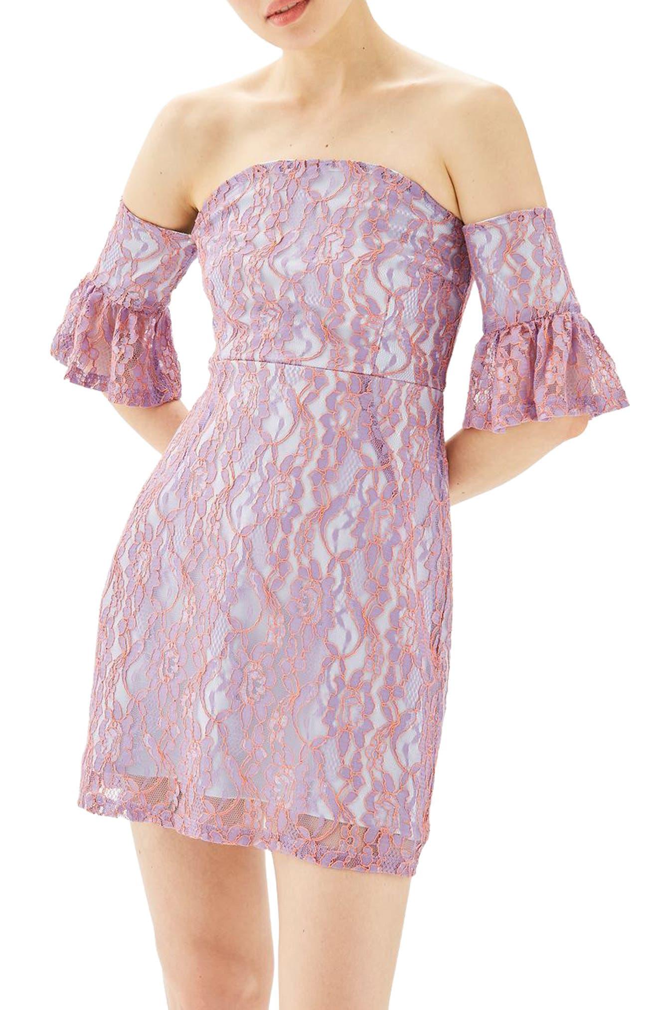 Alternate Image 1 Selected - Topshop Bardot Flute Sleeve Lace Dress