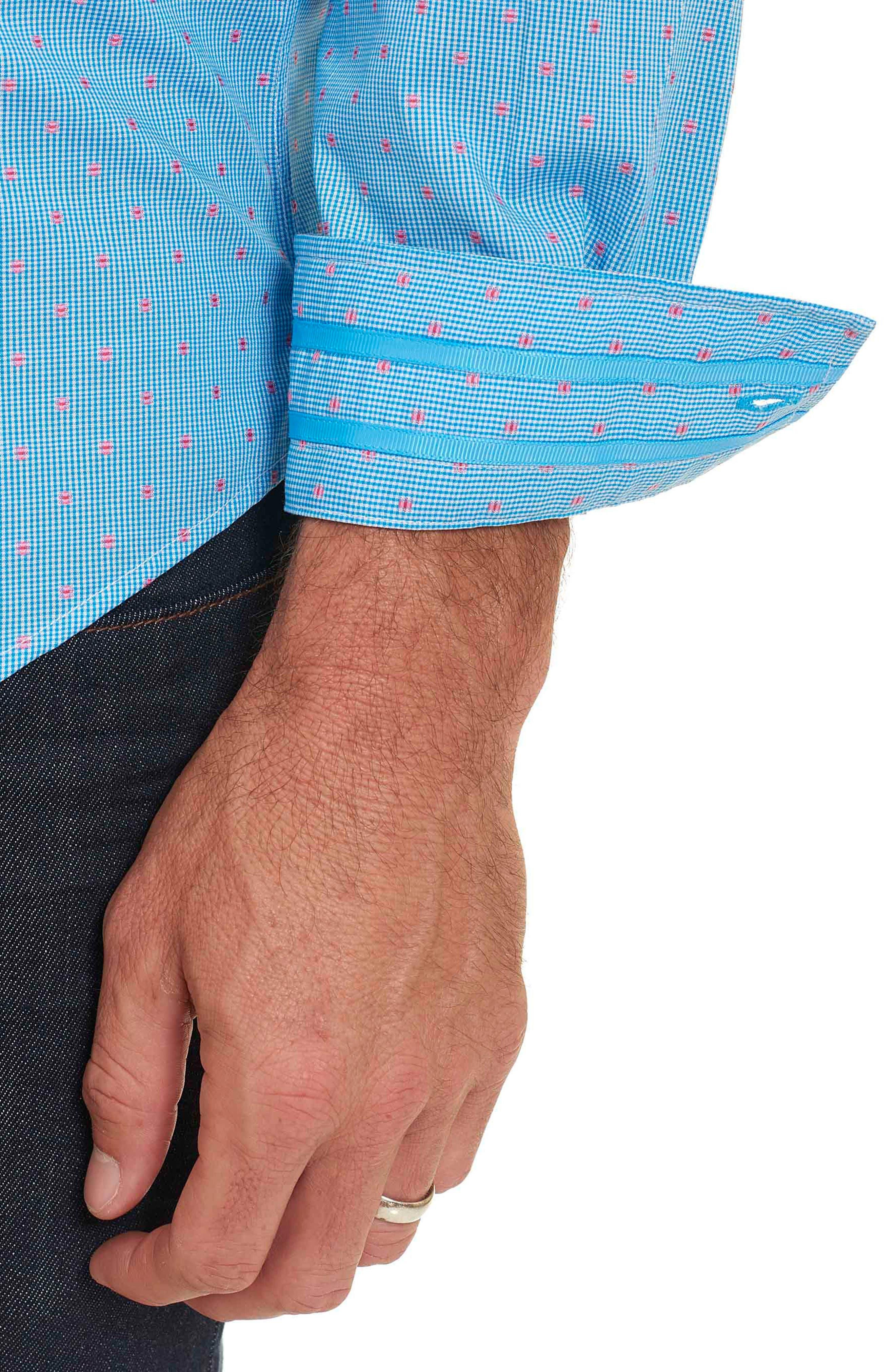 Alternate Image 4  - Robert Graham Tailored Fit Houndstooth Sport Shirt