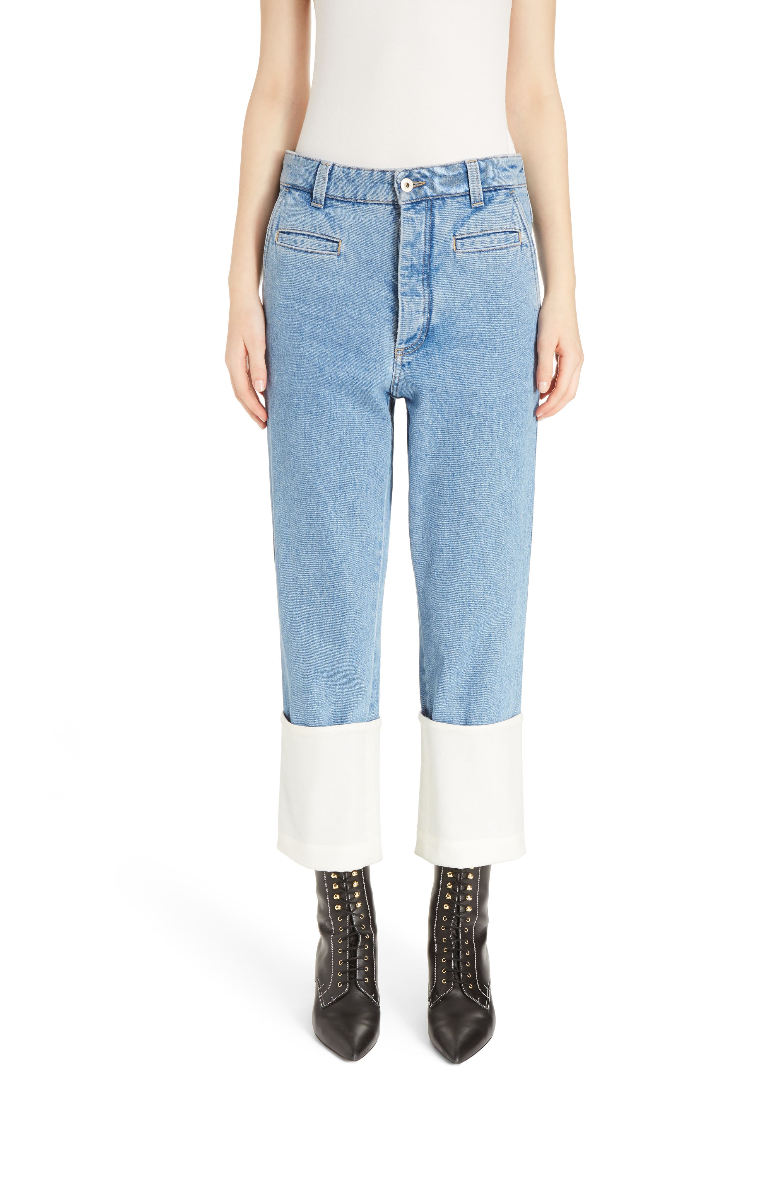 Fisherman Cuffed Jeans,                         Main,                         color, Blue