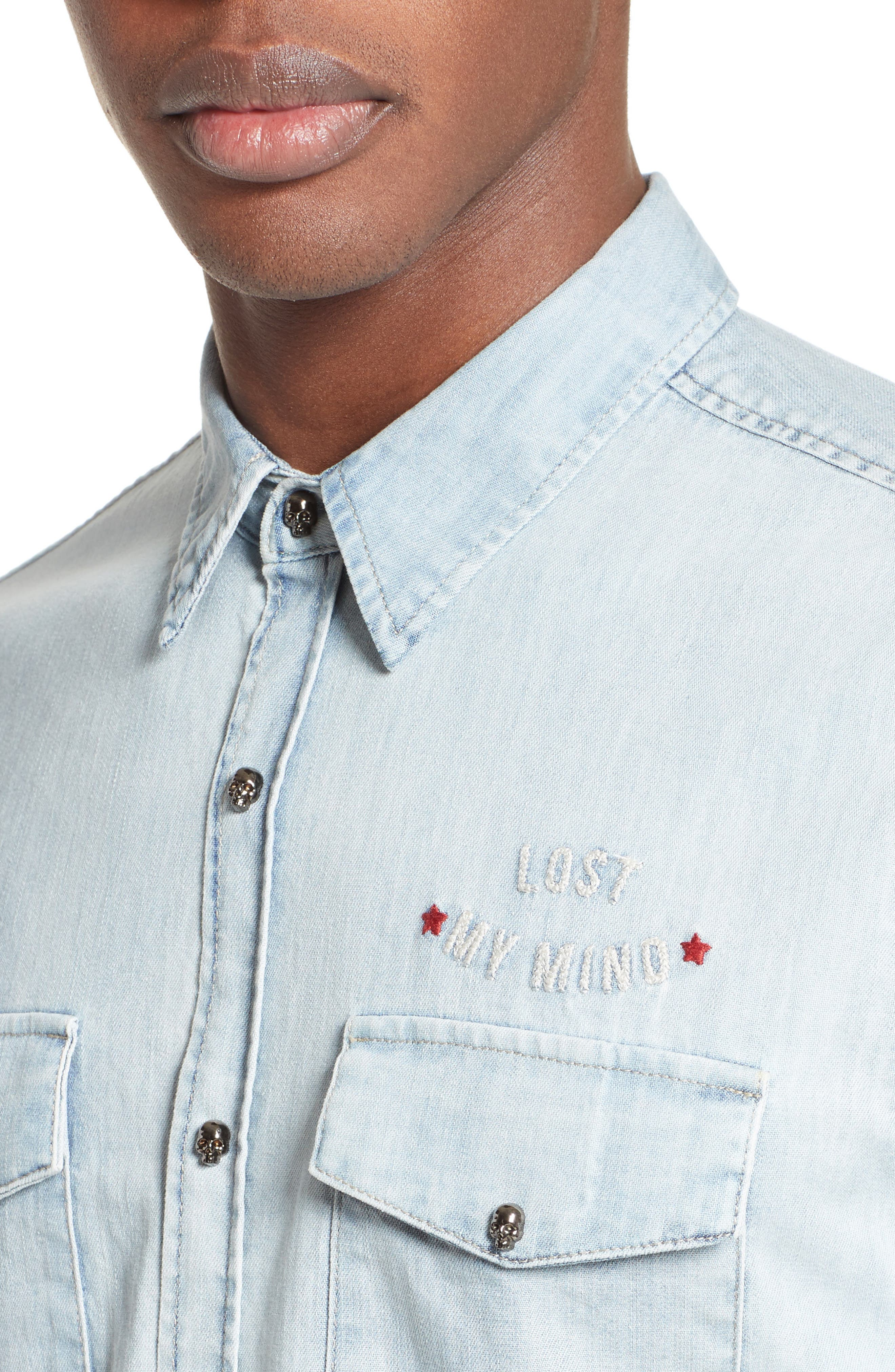 Embroidered Denim Shirt,                             Alternate thumbnail 4, color,                             Blue