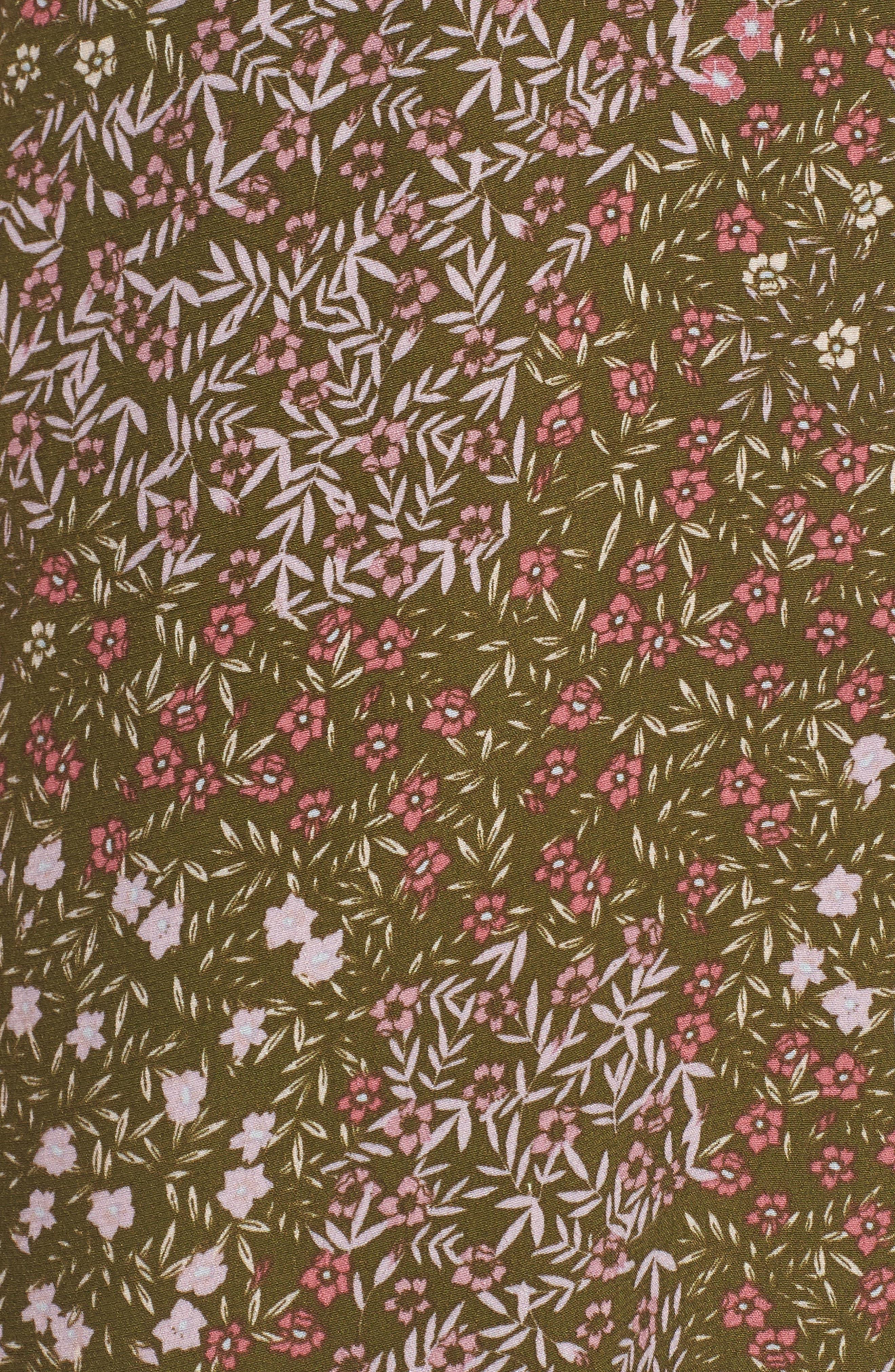 Front Button Slipdress,                             Alternate thumbnail 5, color,                             Olive Dark Patchwork Floral
