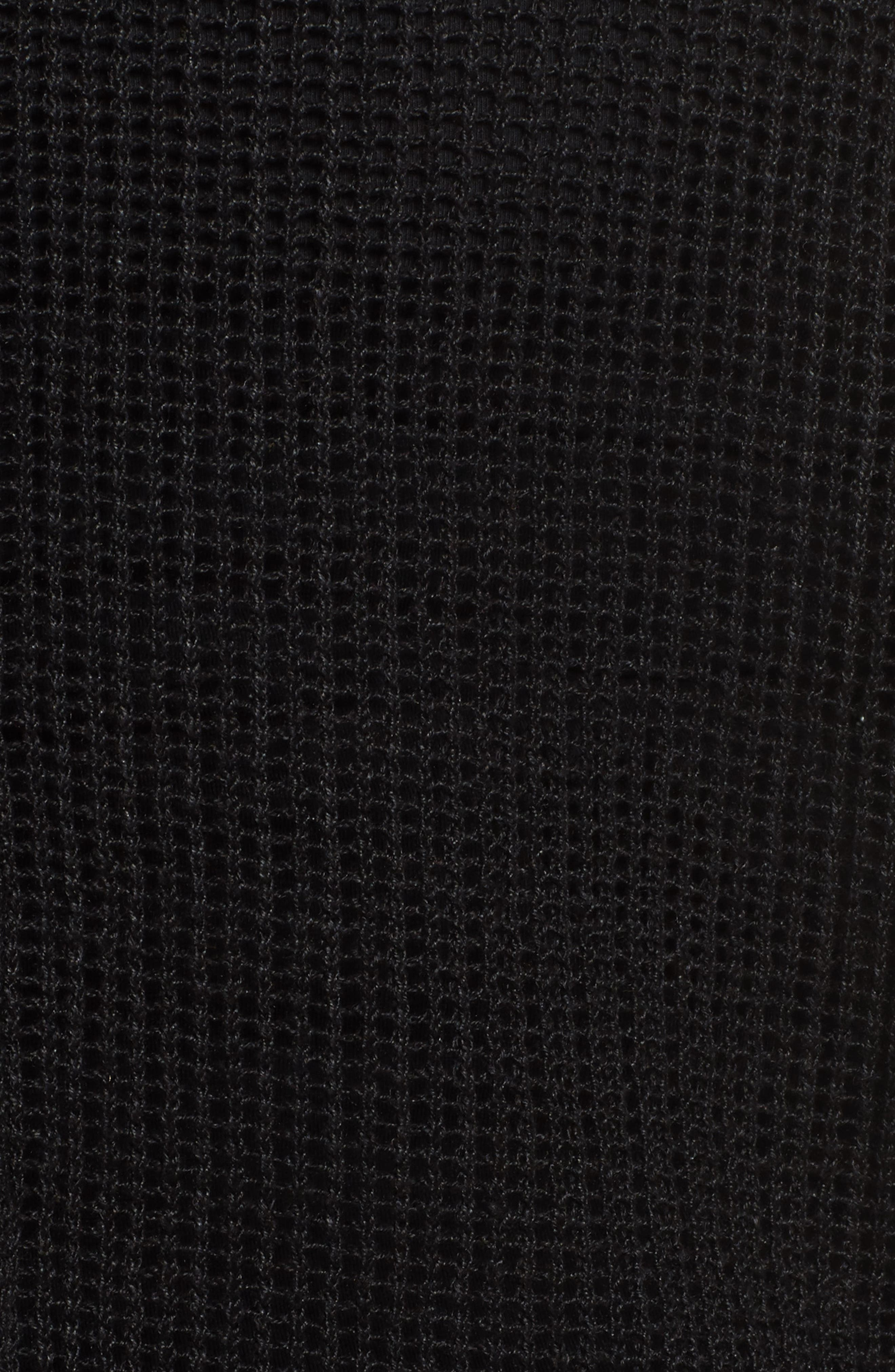 Organic Linen Mesh Knit Top,                             Alternate thumbnail 5, color,                             Black