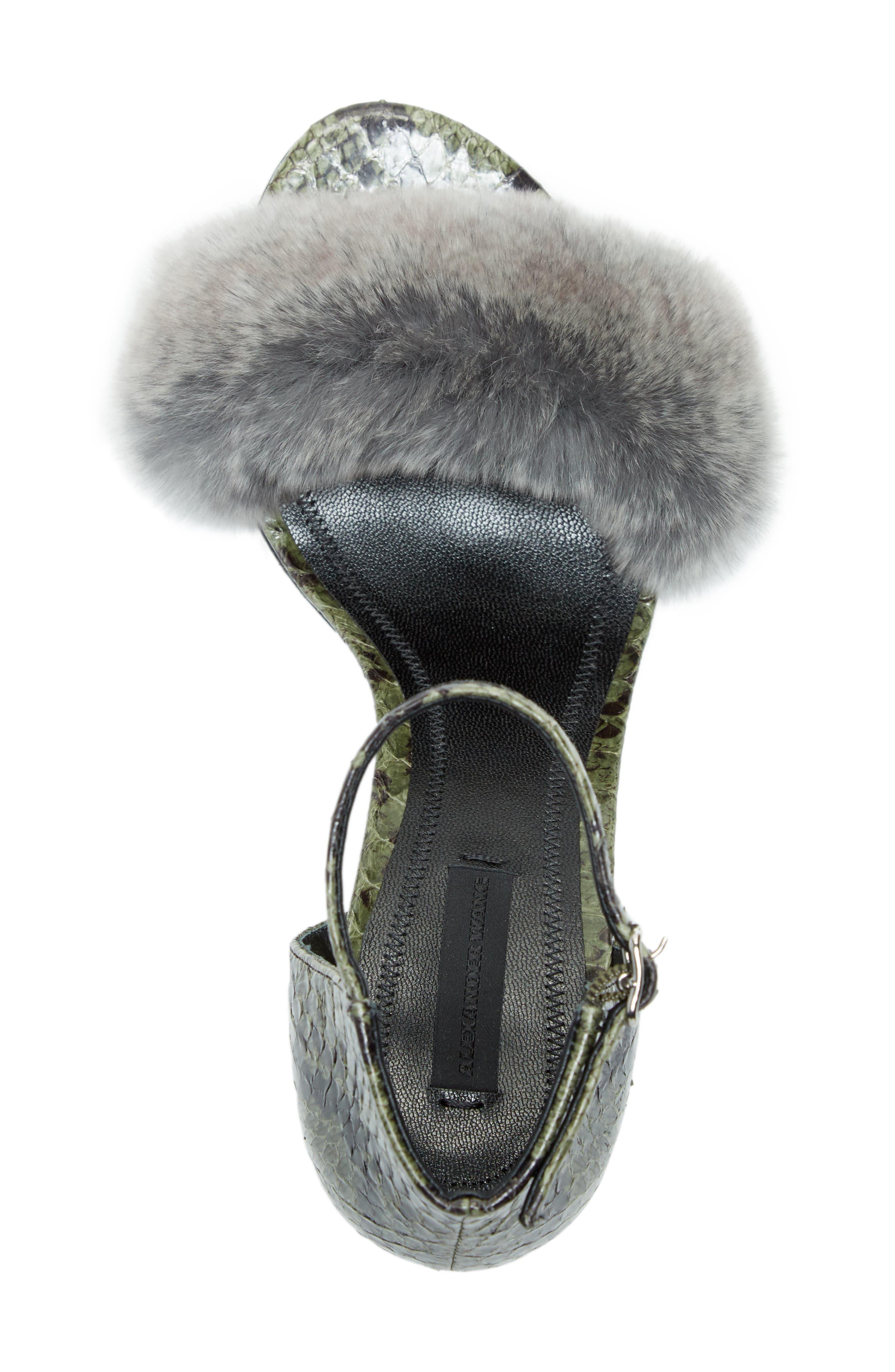Abby Genuine Rabbit Fur & Snakeskin Sandal,                             Alternate thumbnail 5, color,                             Army