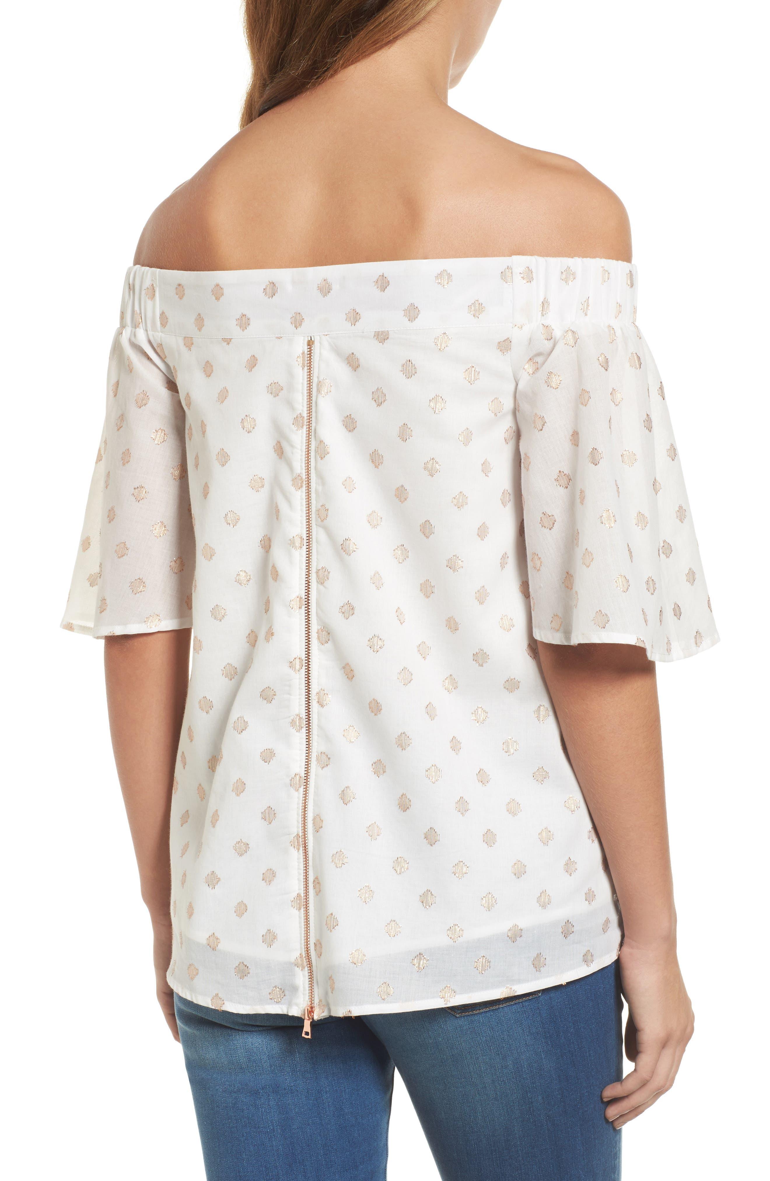 Alternate Image 2  - Wit & Wisdom Zip Detail Embellished Off the Shoulder Top (Nordstrom Exclusive)