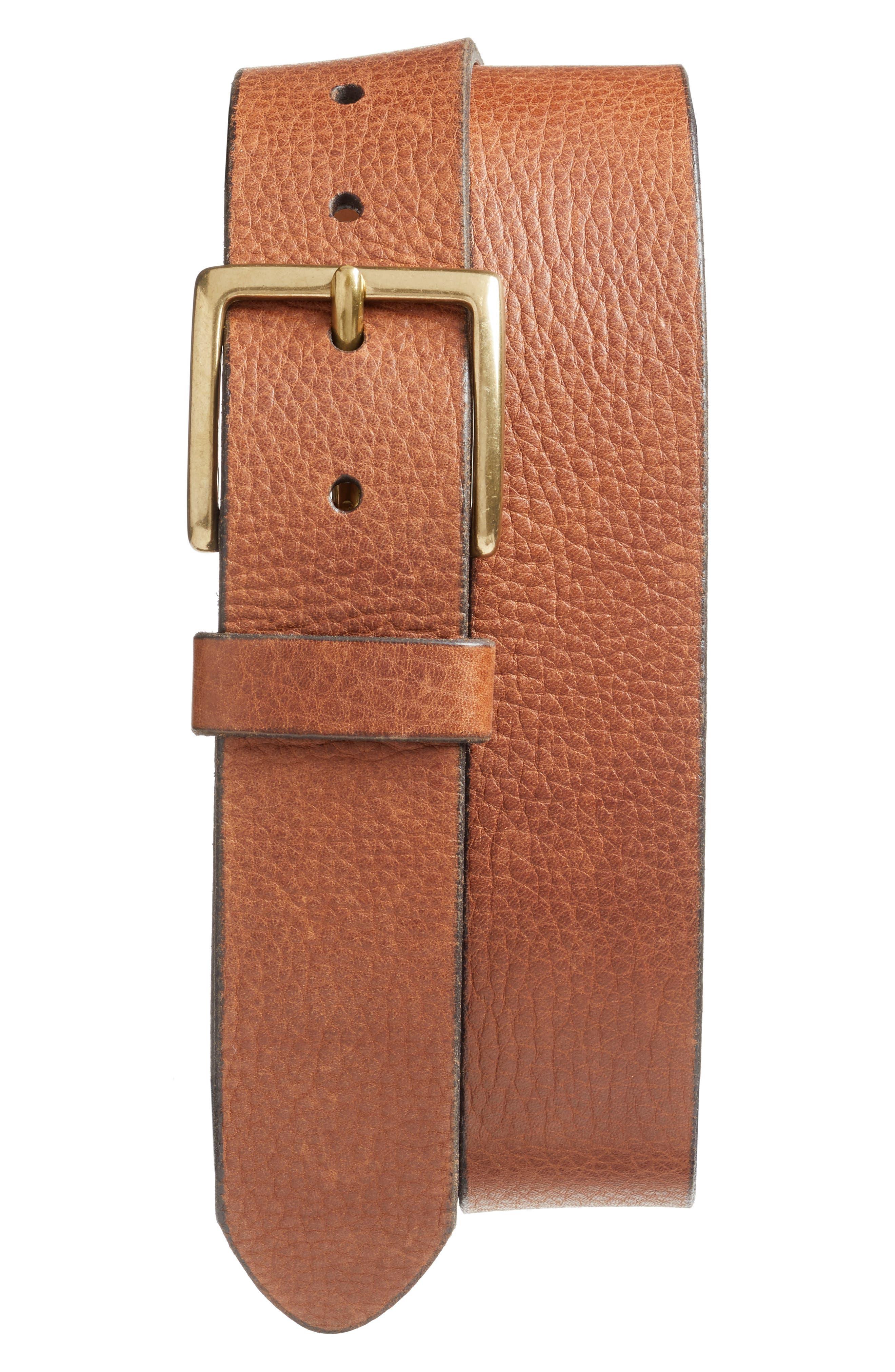 Merritt Leather Belt,                             Main thumbnail 1, color,                             Cognac
