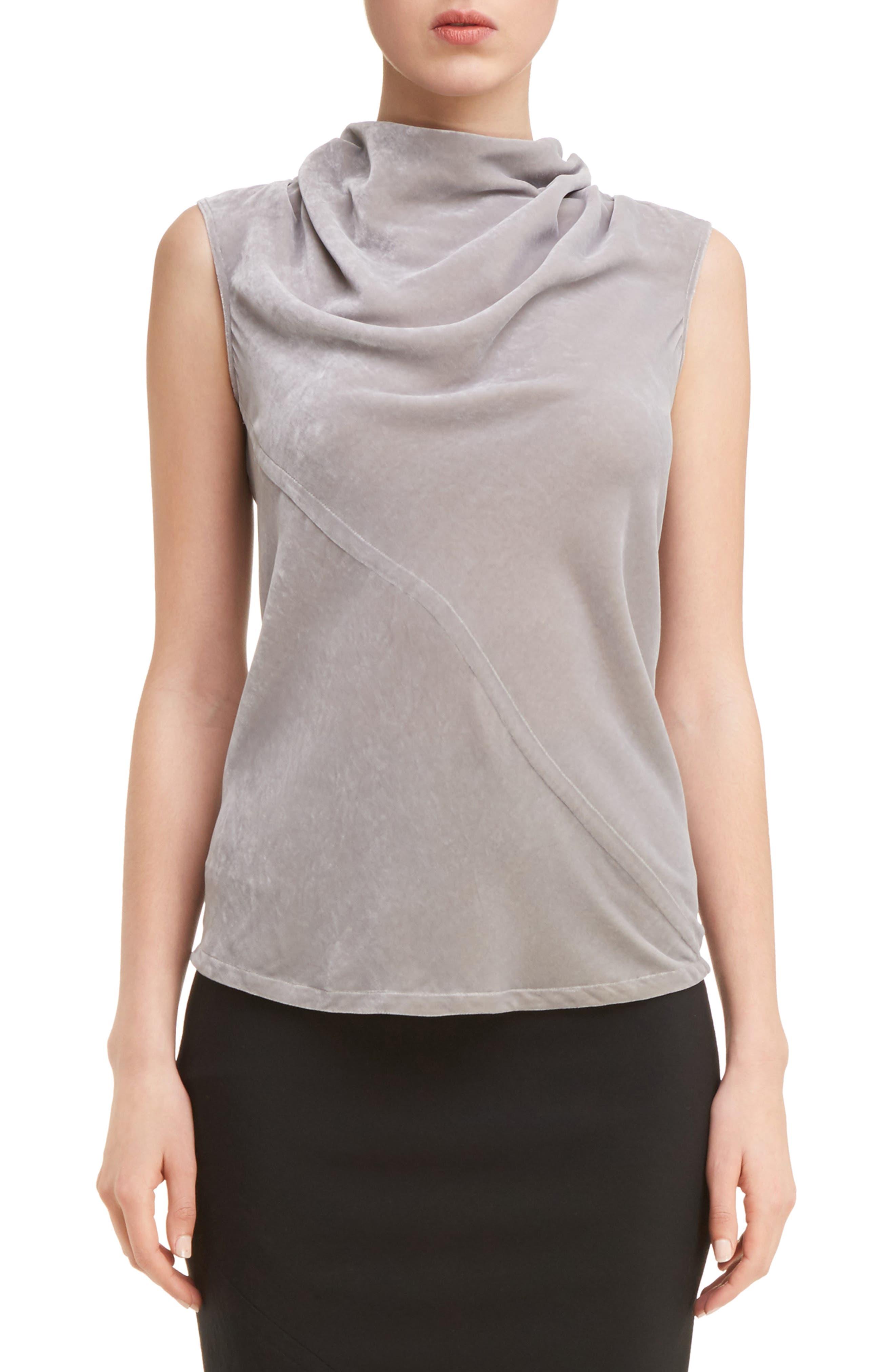 Velvet Drape Neck Top,                         Main,                         color, Fog