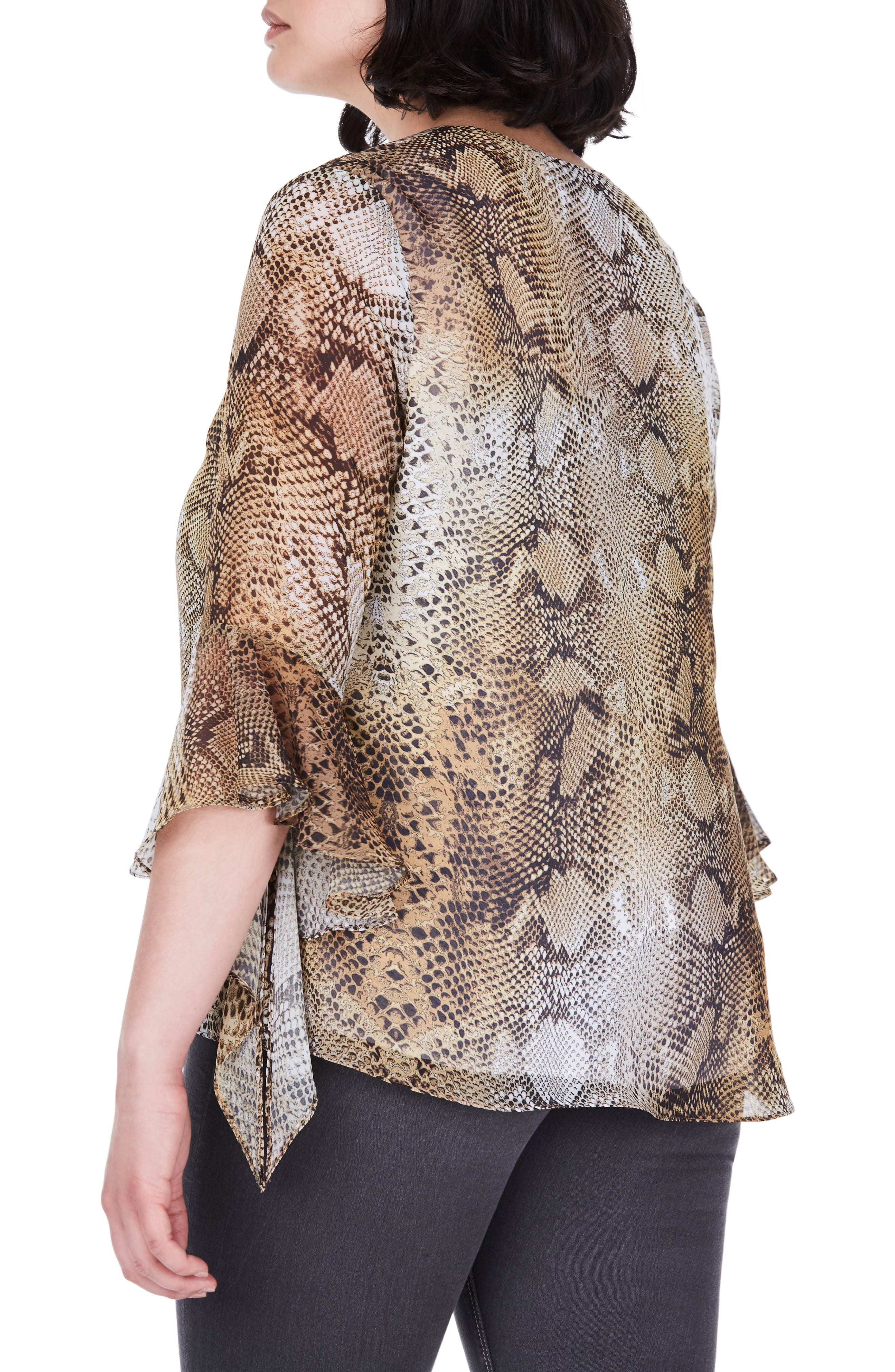 Bell Sleeve Snakeskin Print Top,                             Alternate thumbnail 2, color,                             Yellow