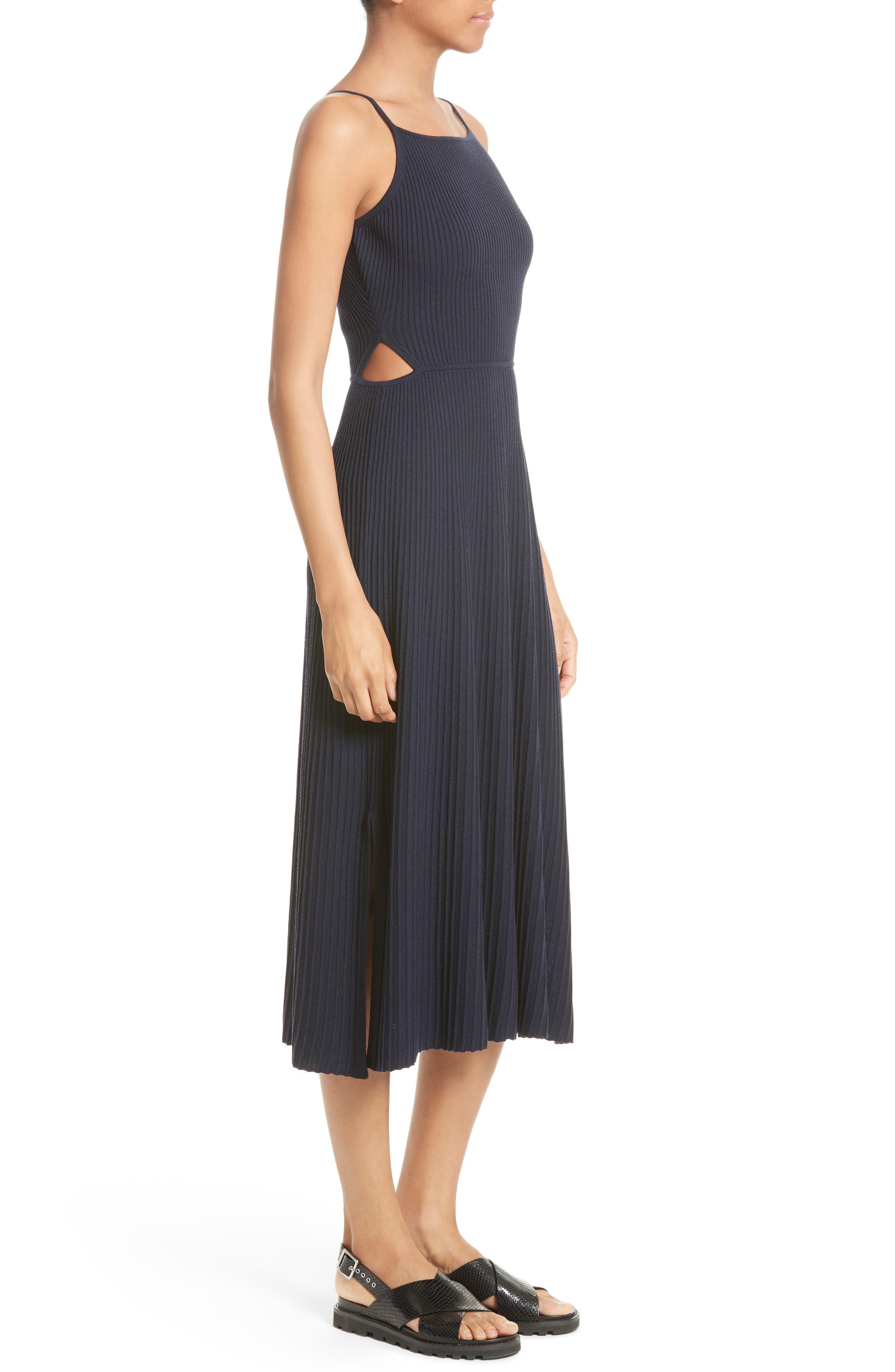 Josette Merino Wool Blend Apron Dress,                             Alternate thumbnail 3, color,                             Navy