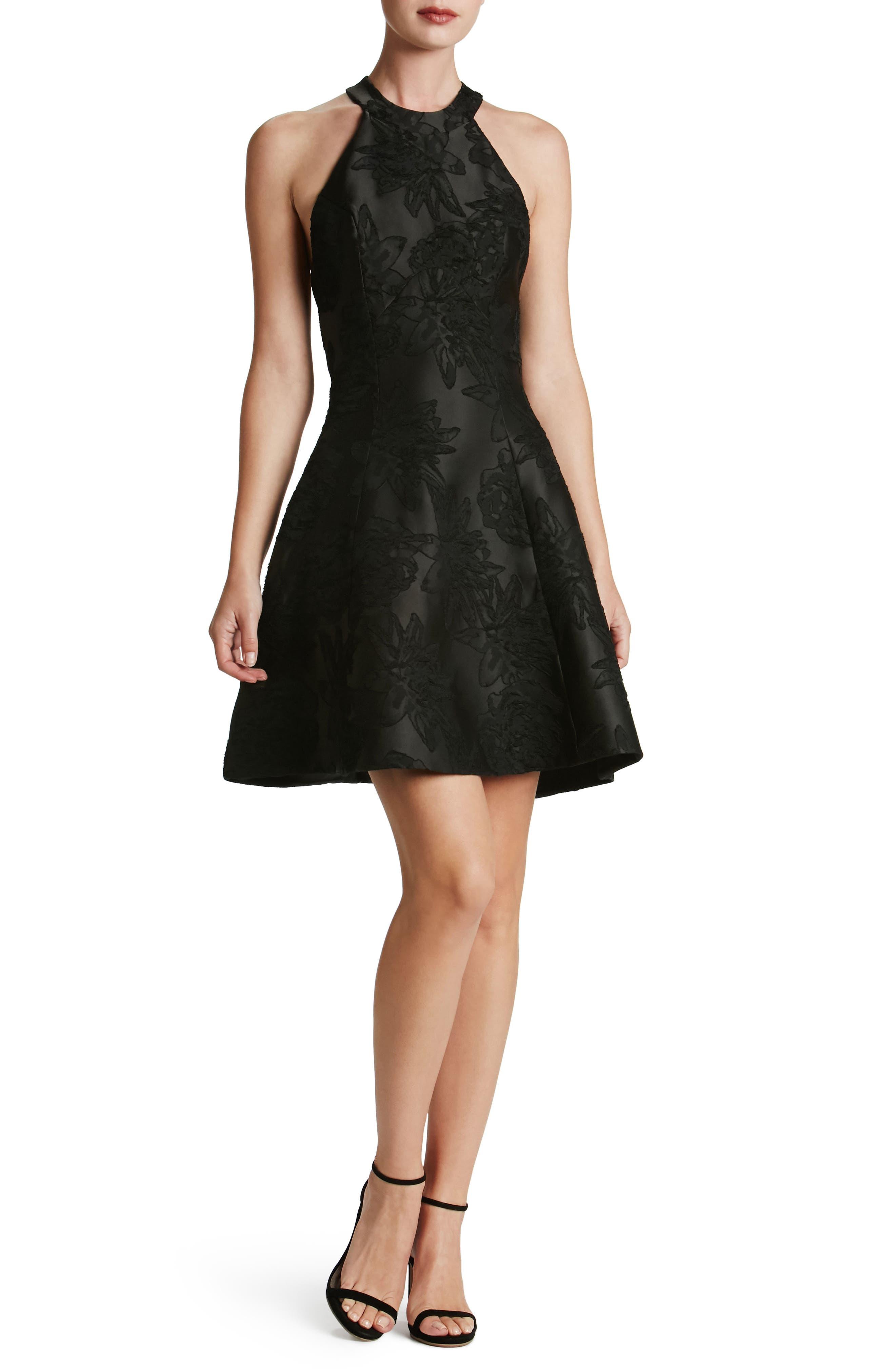Hannah Fit & Flare Dress,                         Main,                         color, Black