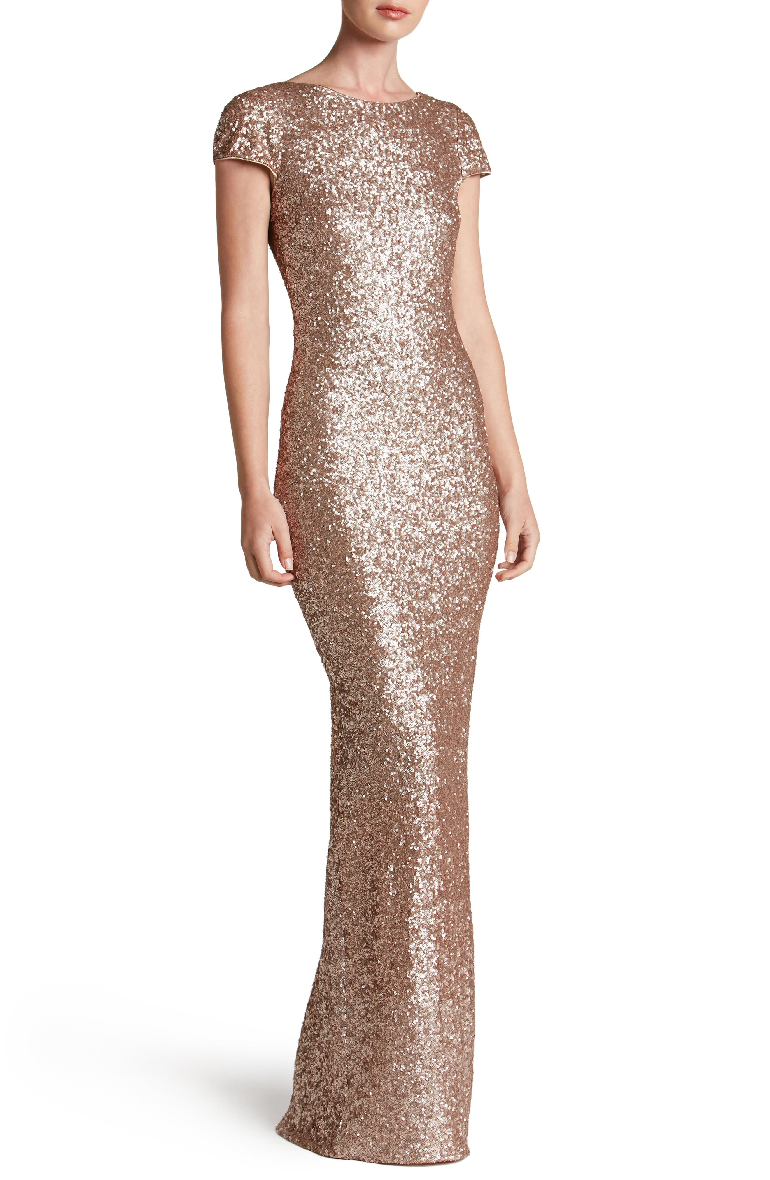 Teresa Body-Con Gown,                         Main,                         color, Rose Gold