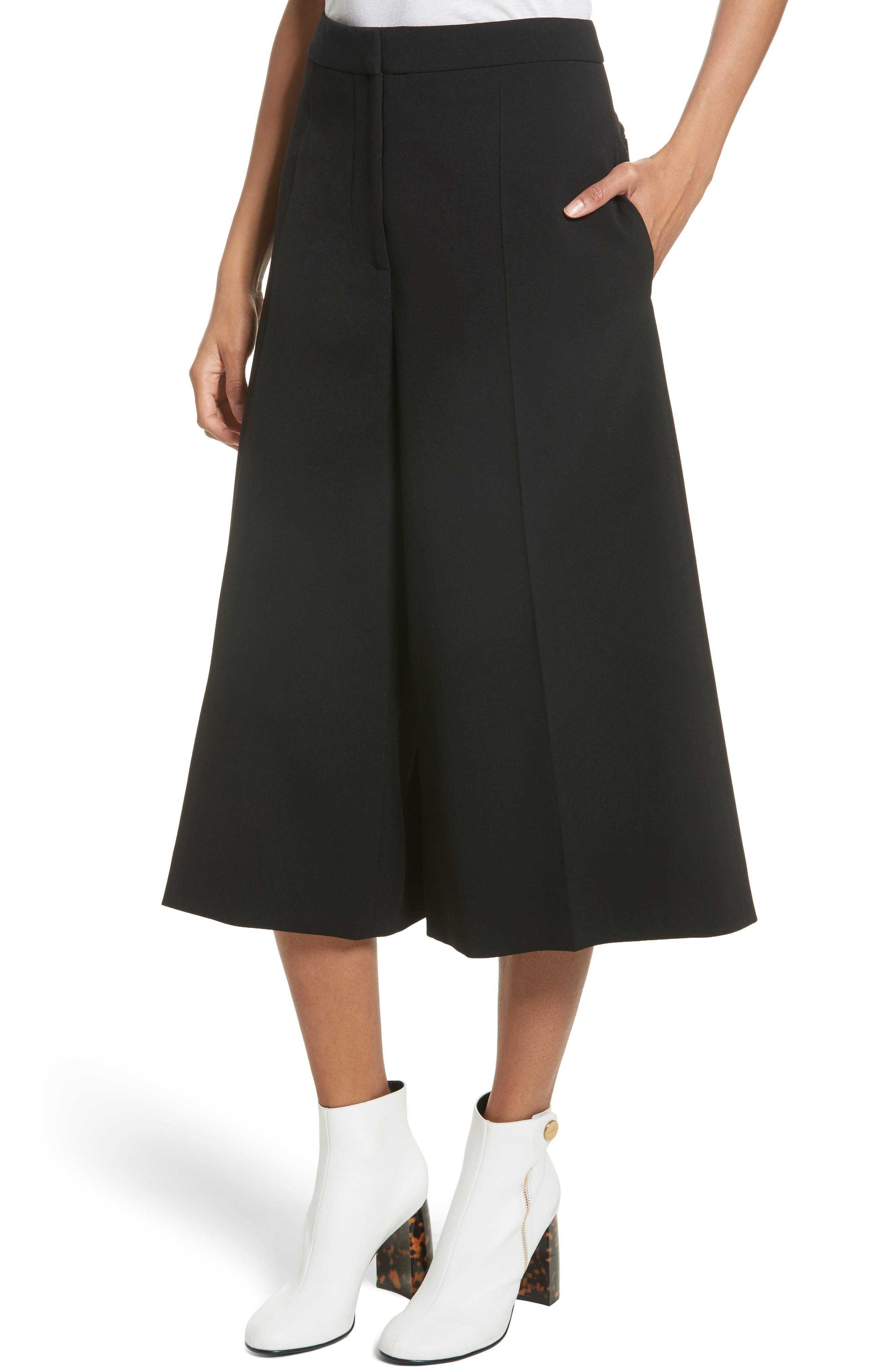 Stretch Wool Culottes,                             Alternate thumbnail 6, color,                             Black