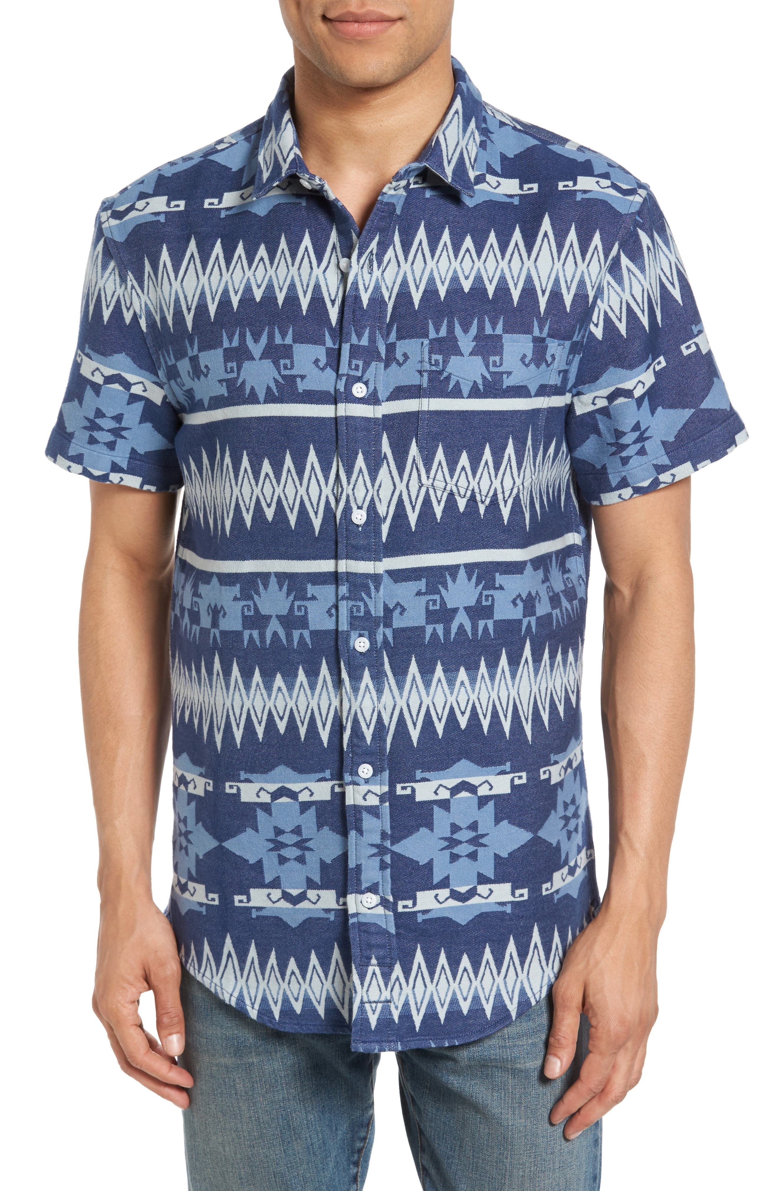 Geo Jacquard Shirt,                             Main thumbnail 1, color,                             Blue Dusk Oversize Geo