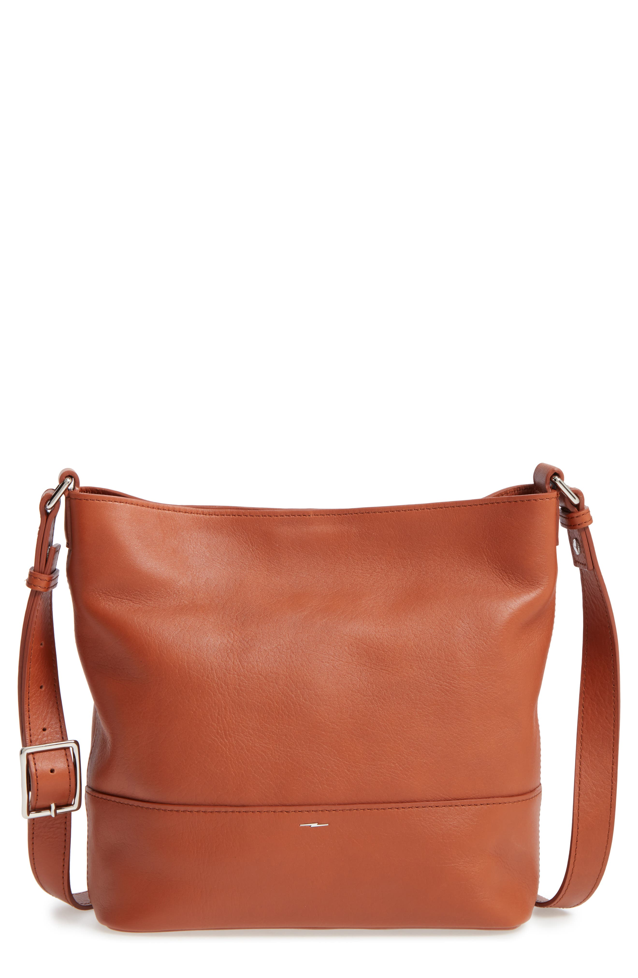 Small Relaxed Leather Hobo Bag,                         Main,                         color, Bourbon