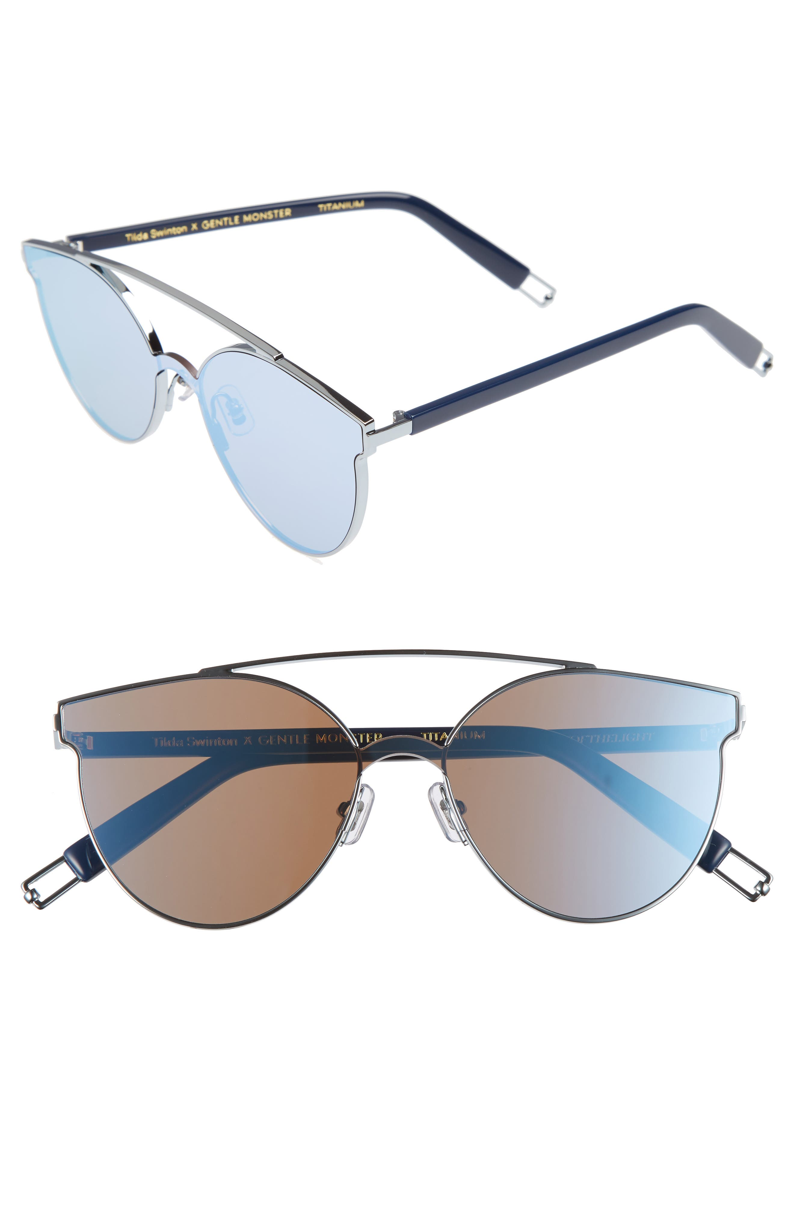 Tilda Swinton x Gentle Monster Trick of the Light 60mm Shield Sunglasses,                             Main thumbnail 1, color,                             Blue Mirror