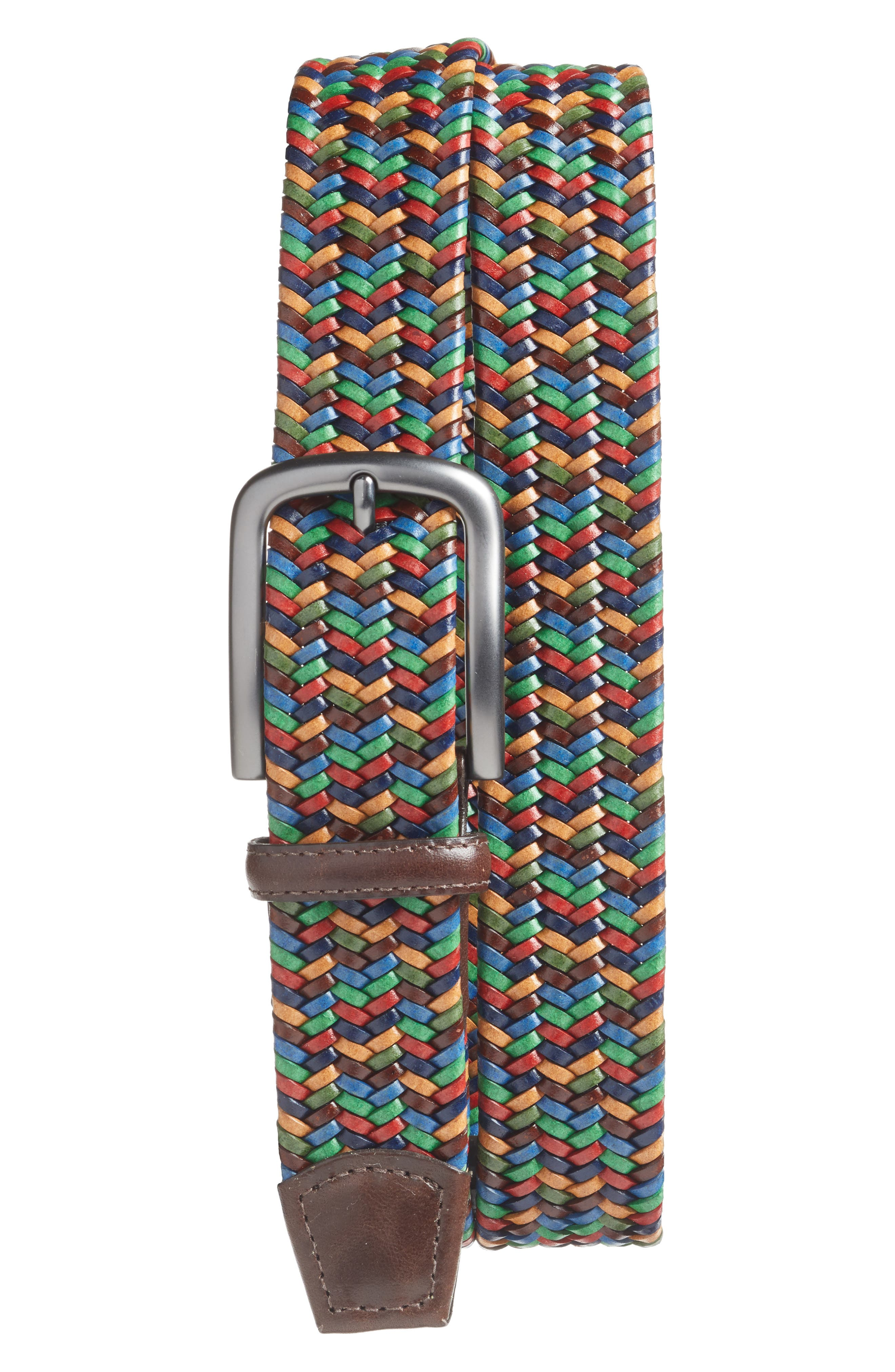 Woven Belt,                             Main thumbnail 1, color,                             Navy/ Red/ Tan