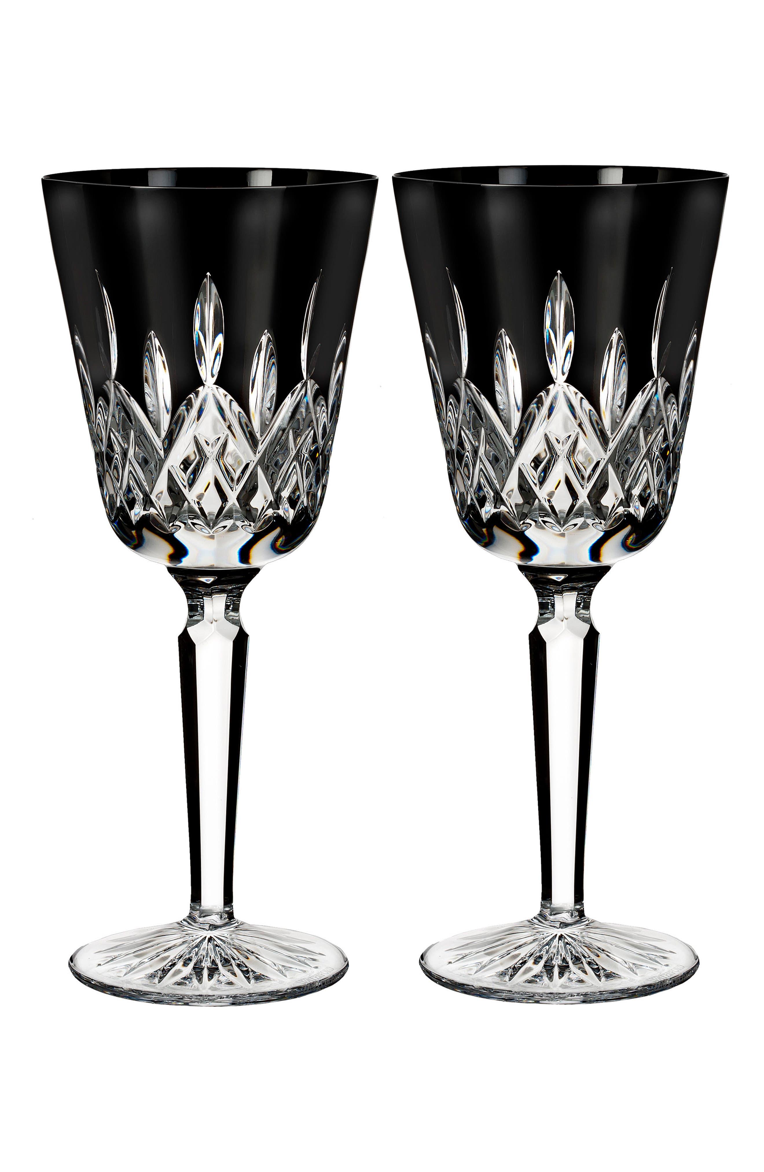 Lismore Diamond Set of 2 Black Lead Crystal Goblets,                         Main,                         color, Crystal