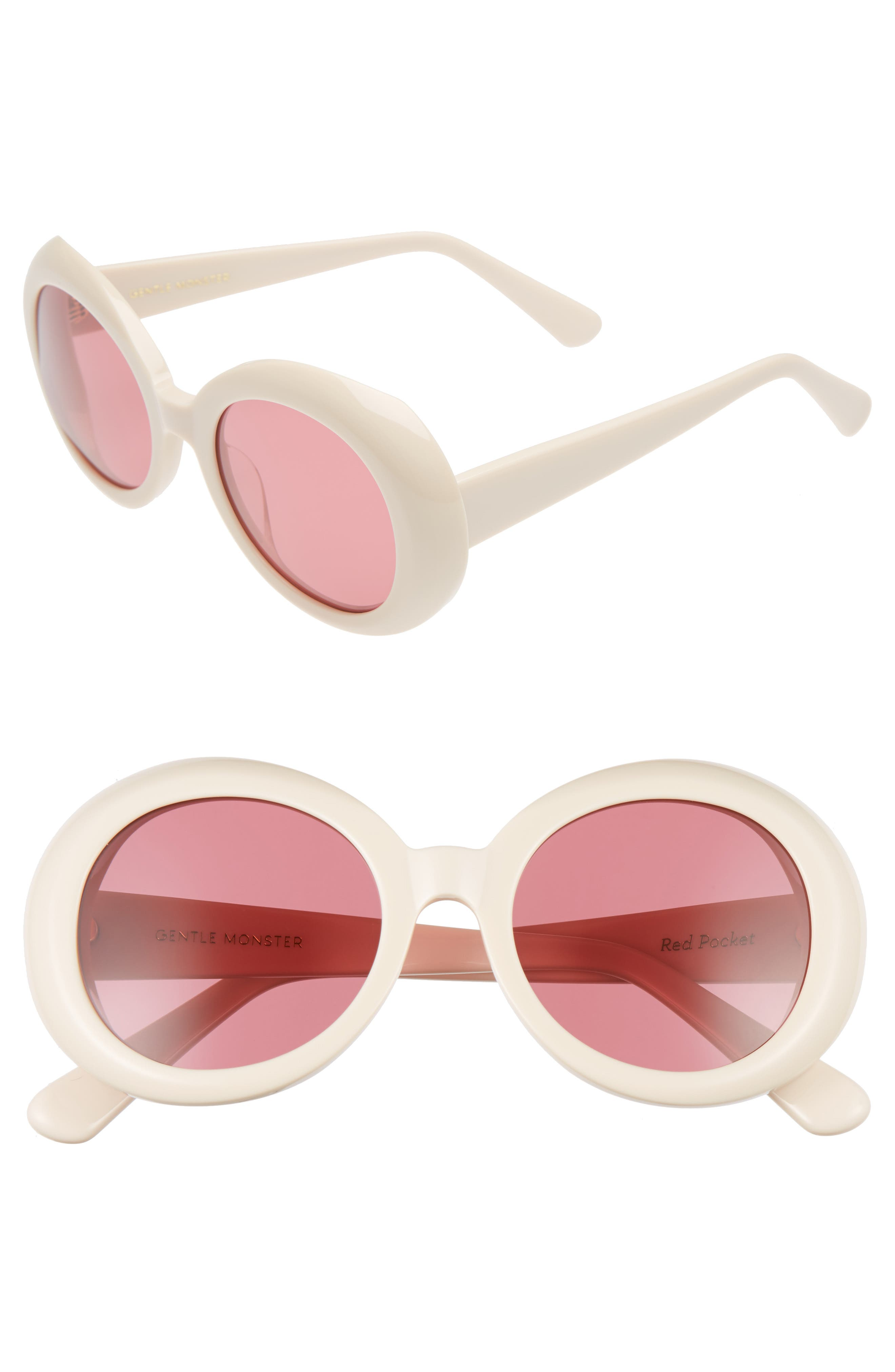 Red Pocket 52mm Round Sunglasses,                         Main,                         color, Ivory