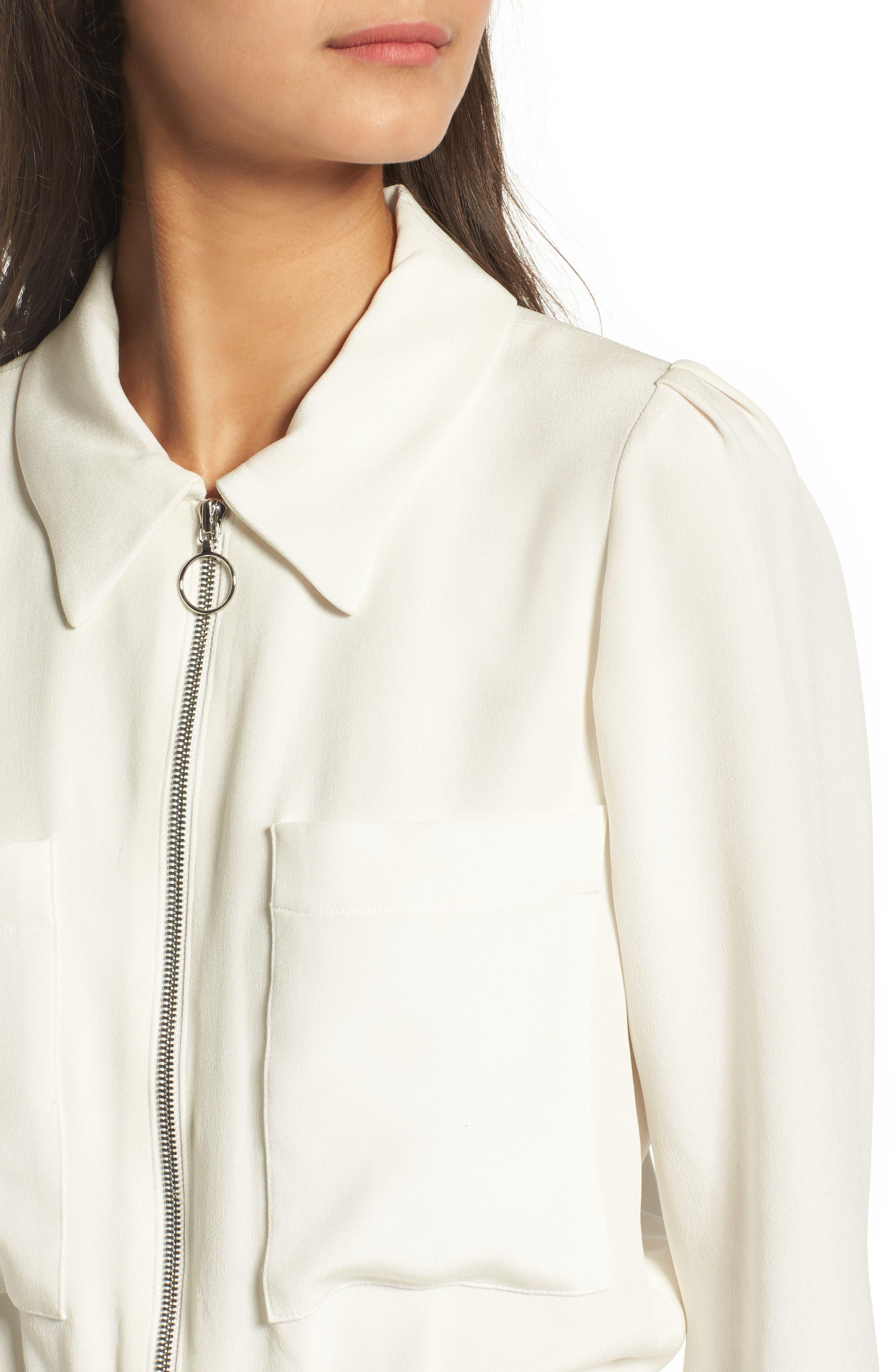 Harbor Silk Jacket,                             Alternate thumbnail 4, color,                             White Silk