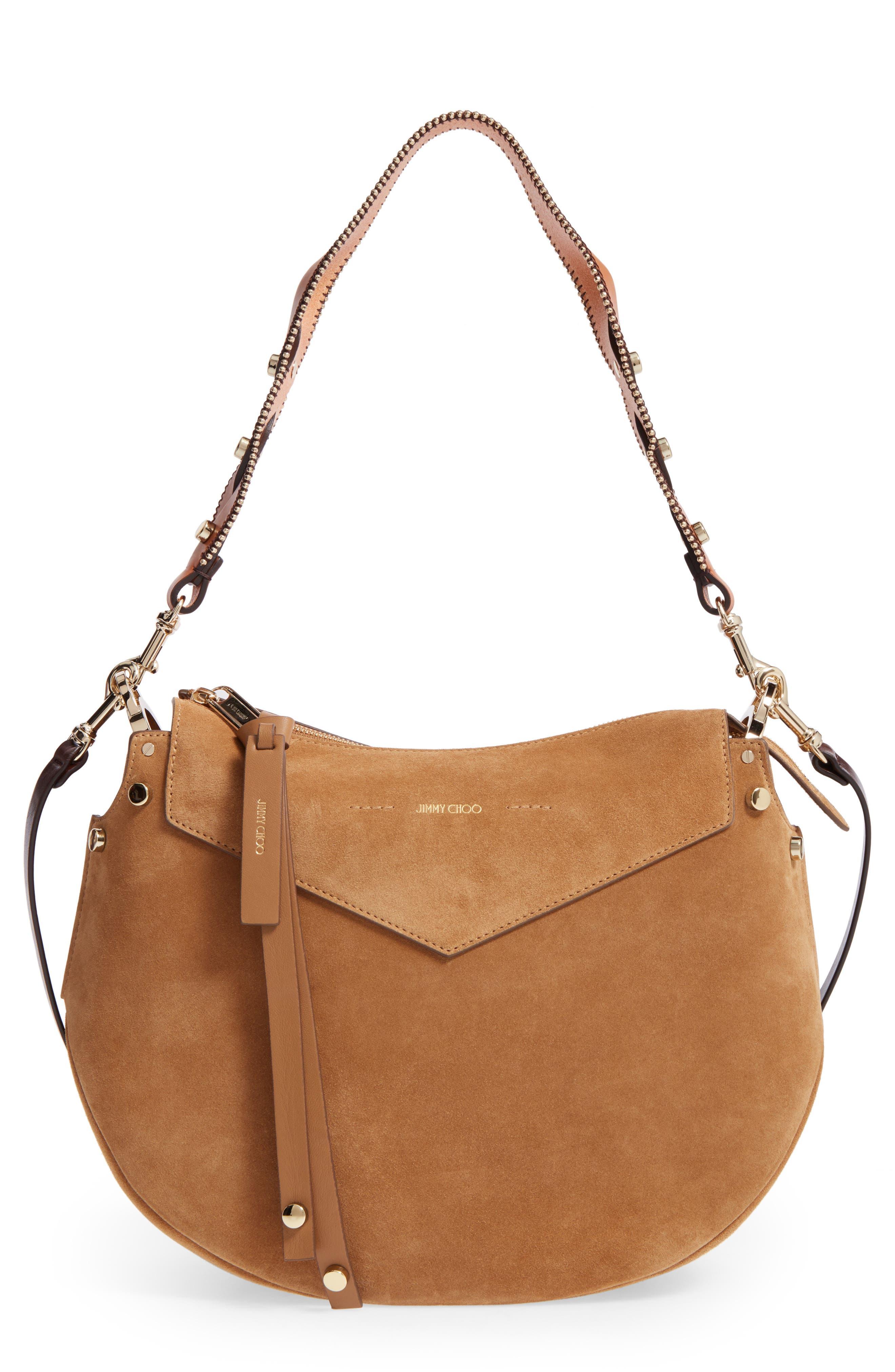 Artie Suede Hobo Bag,                         Main,                         color, Hazel/Cuoio