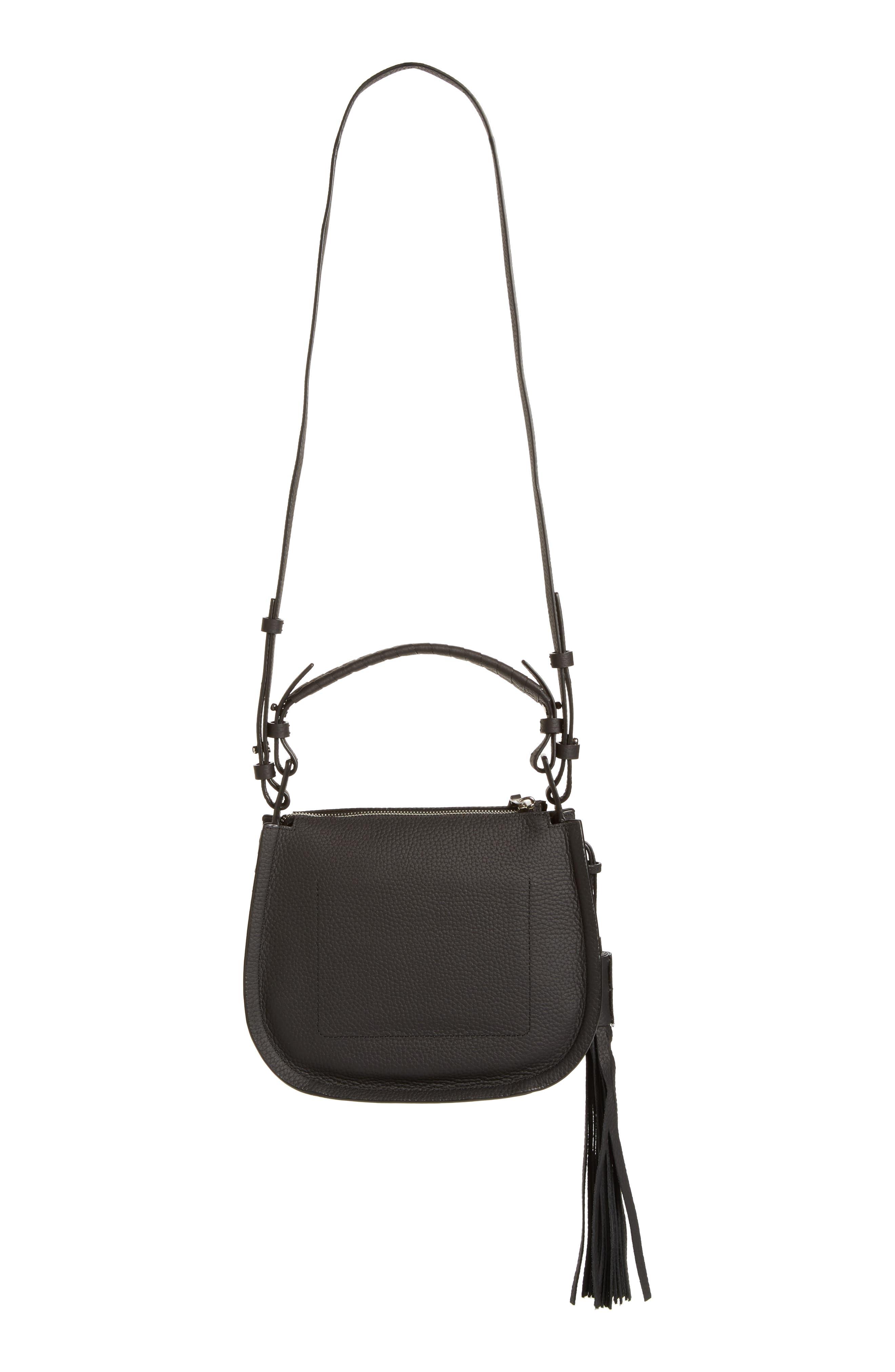 Mori Leather Crossbody Bag,                             Alternate thumbnail 4, color,                             Black