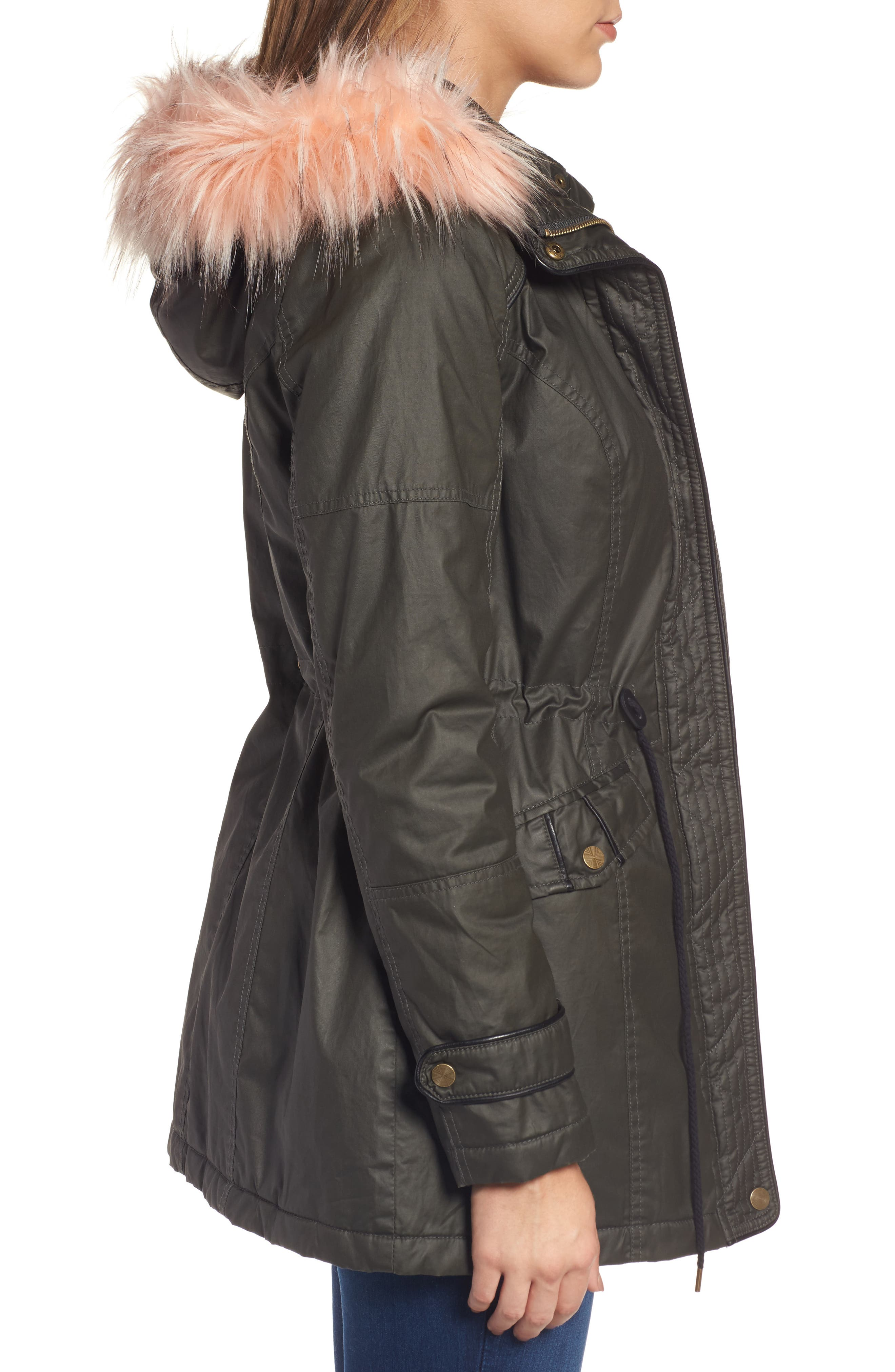 Waxed Cotton Parka with Faux Fur Hood,                             Alternate thumbnail 3, color,                             Olive
