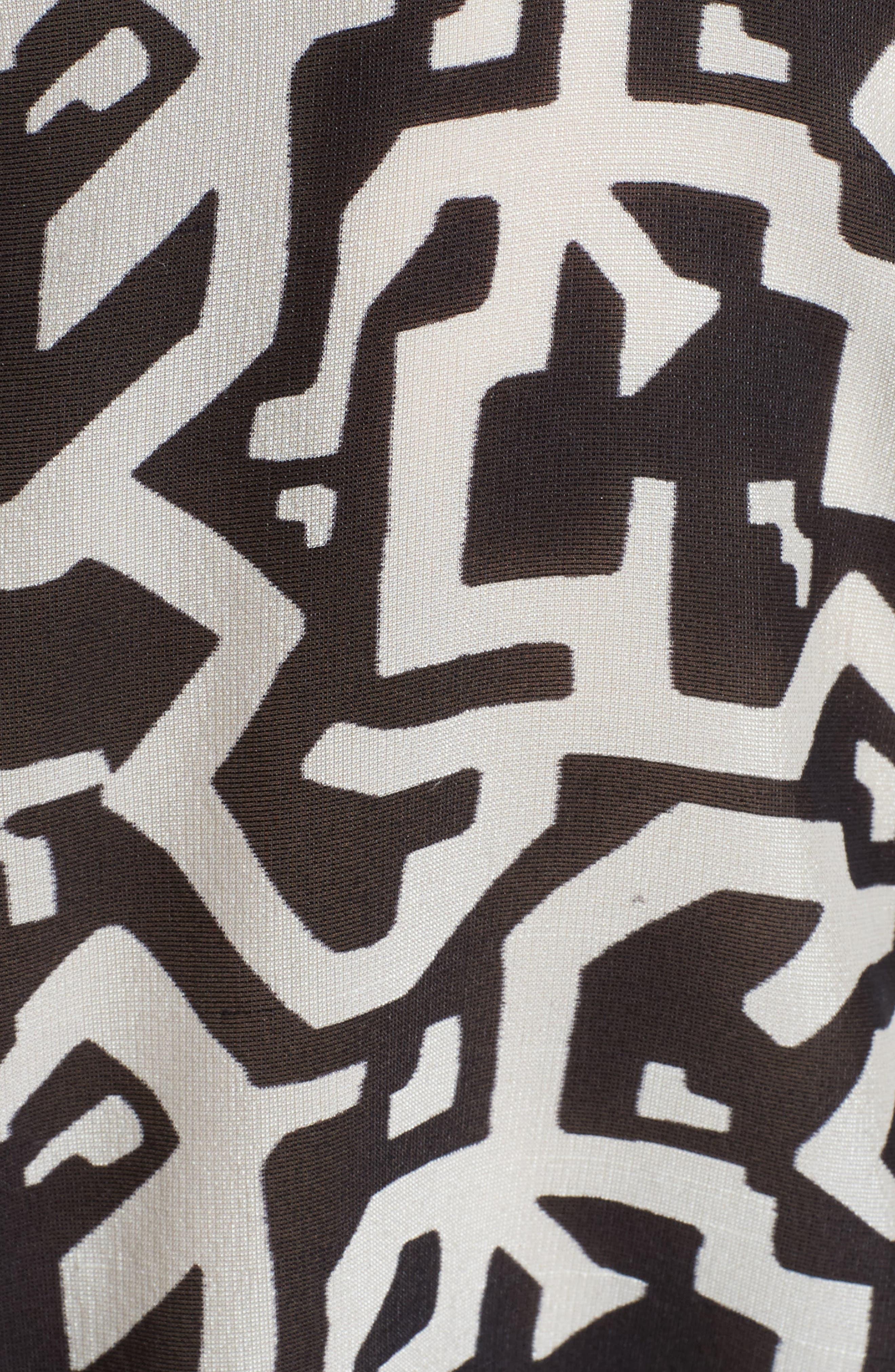 Floral & Maze Print Silk Blouse,                             Alternate thumbnail 3, color,                             Pink