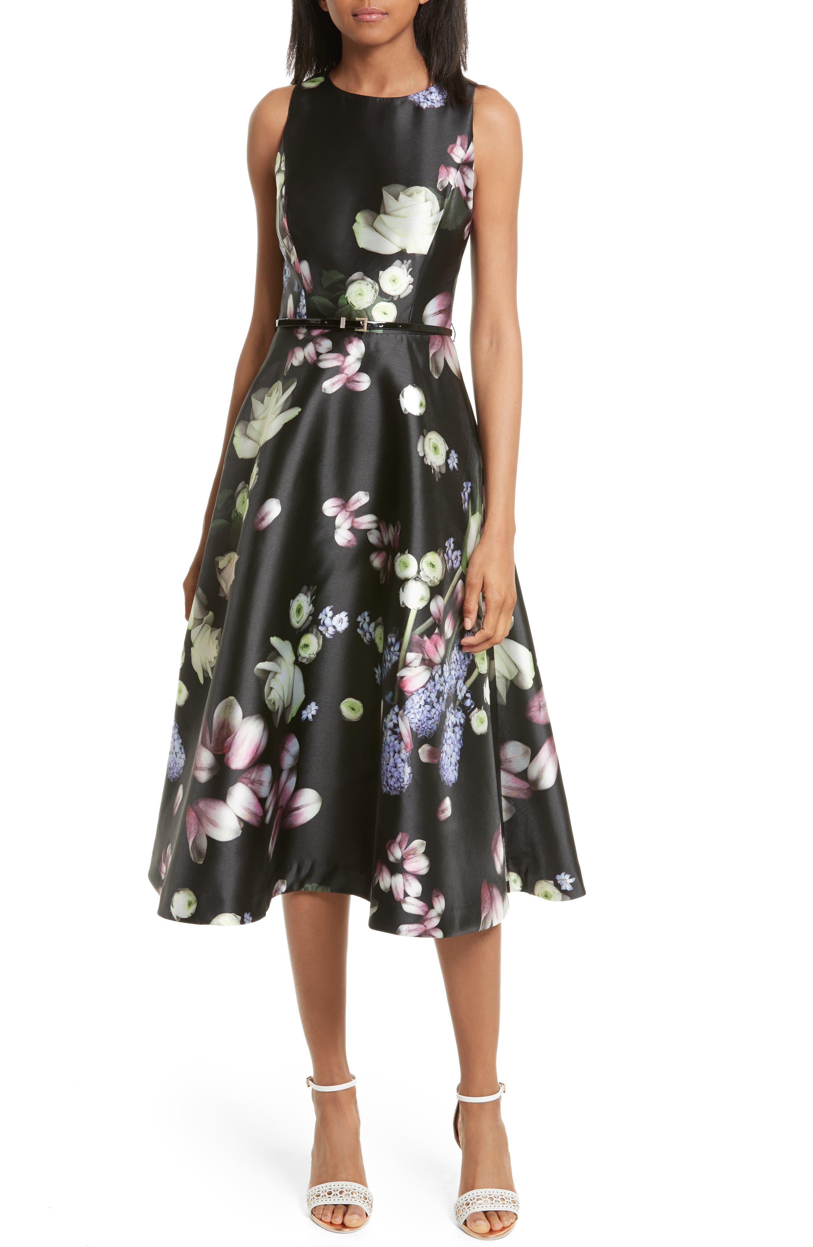 Ted Baker London Rosa Kinsington Floral Belted A-Line Dress