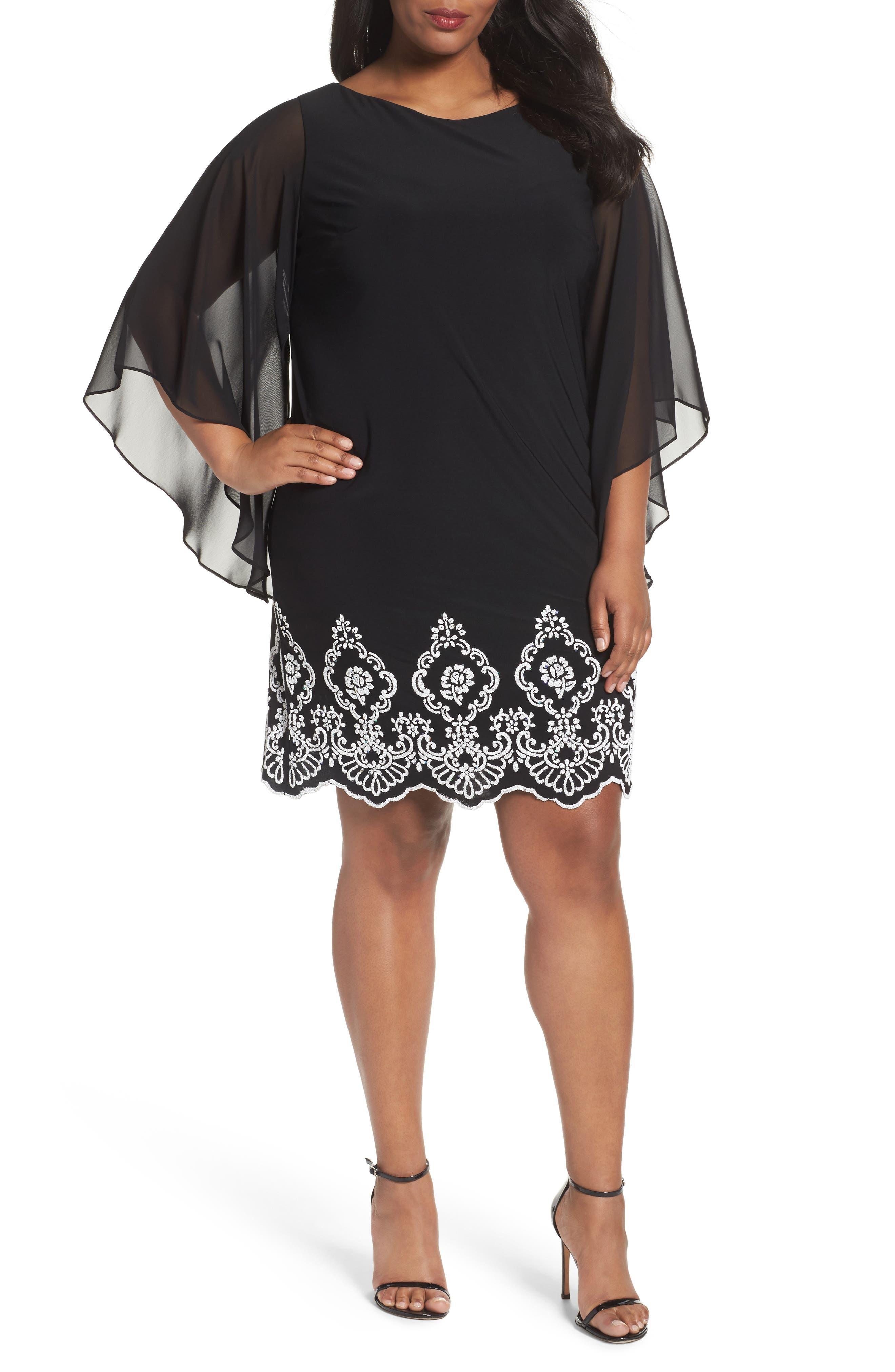 Main Image - Xscape Beaded Hem Short Shift Dress (Plus Size)