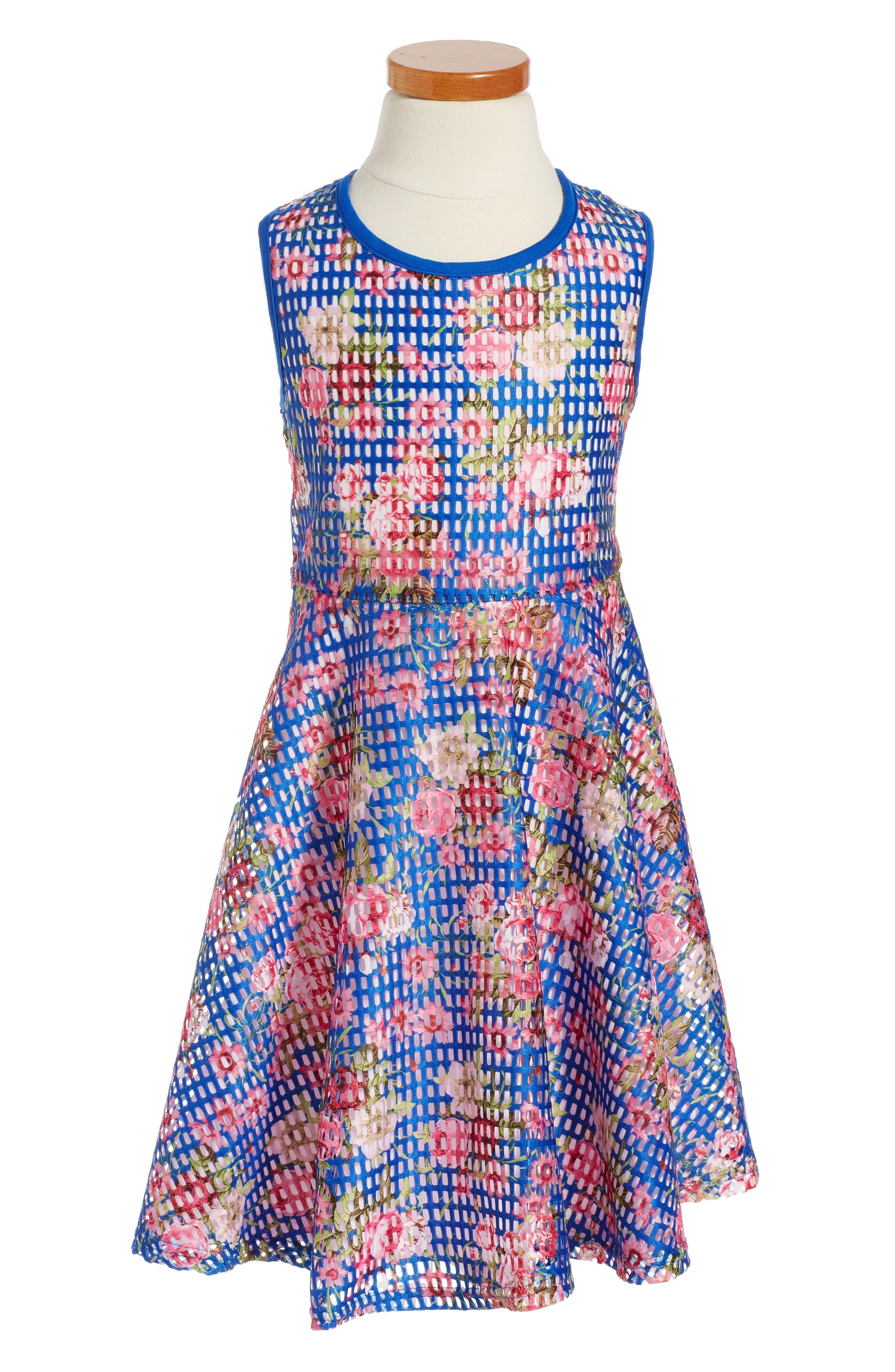 Pippa & Julie Print Mesh Dress (Toddler Girls & LIttle Girls)
