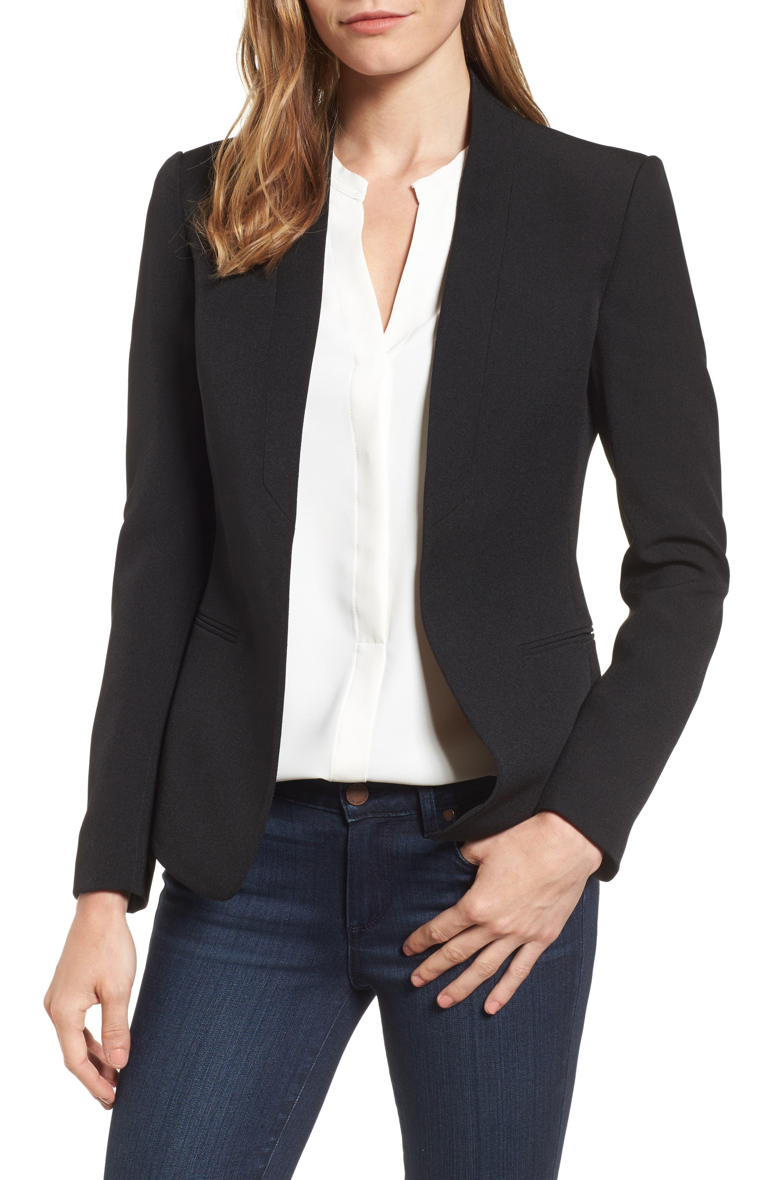 Open Front Jacket,                         Main,                         color, Black