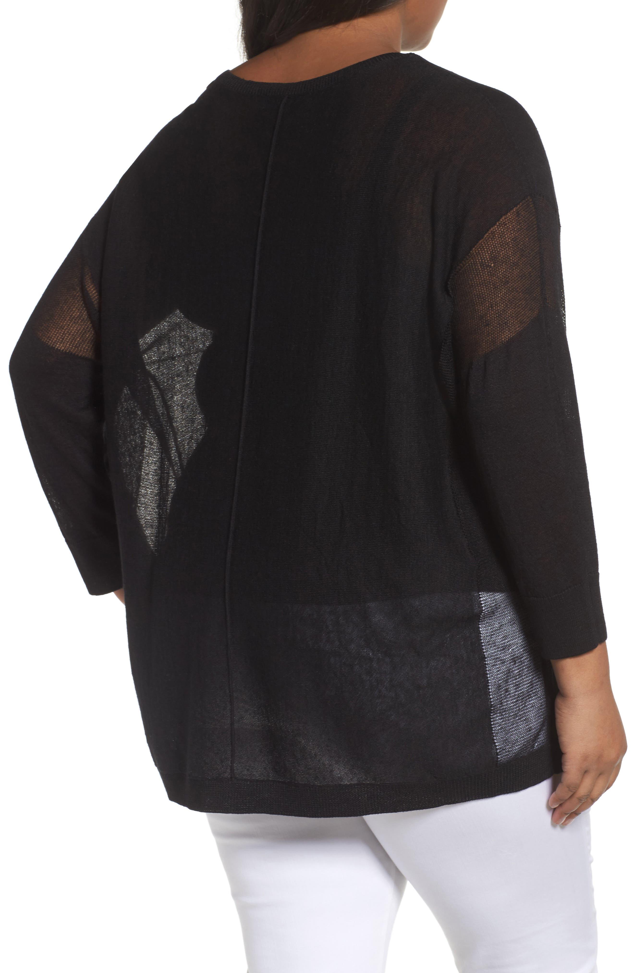 Alternate Image 2  - Sejour Sheer Inset Linen Blend Tunic Top (Plus Size)