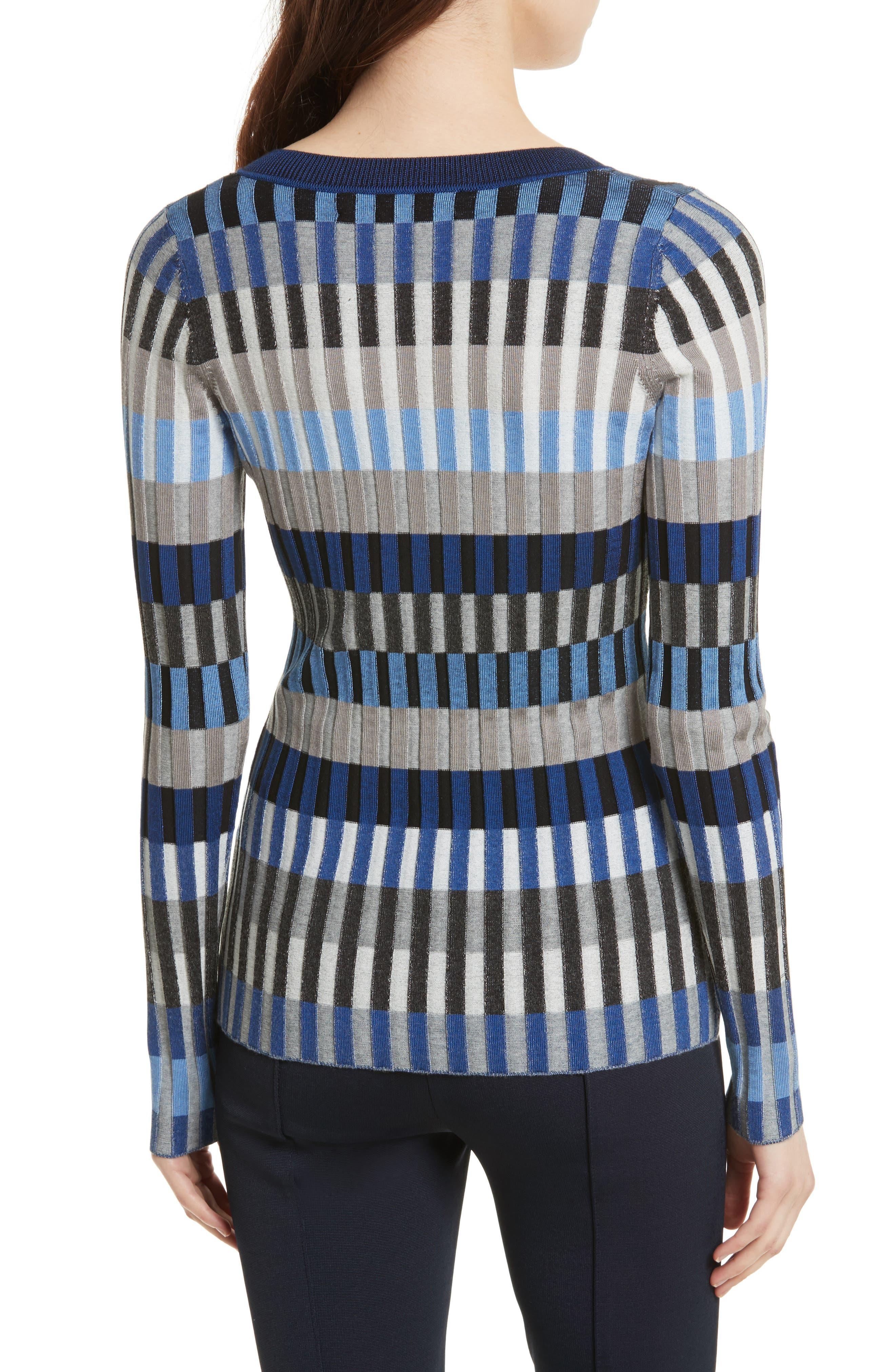 Stripe Rib Knit Sweater,                             Alternate thumbnail 2, color,                             Ash Combo