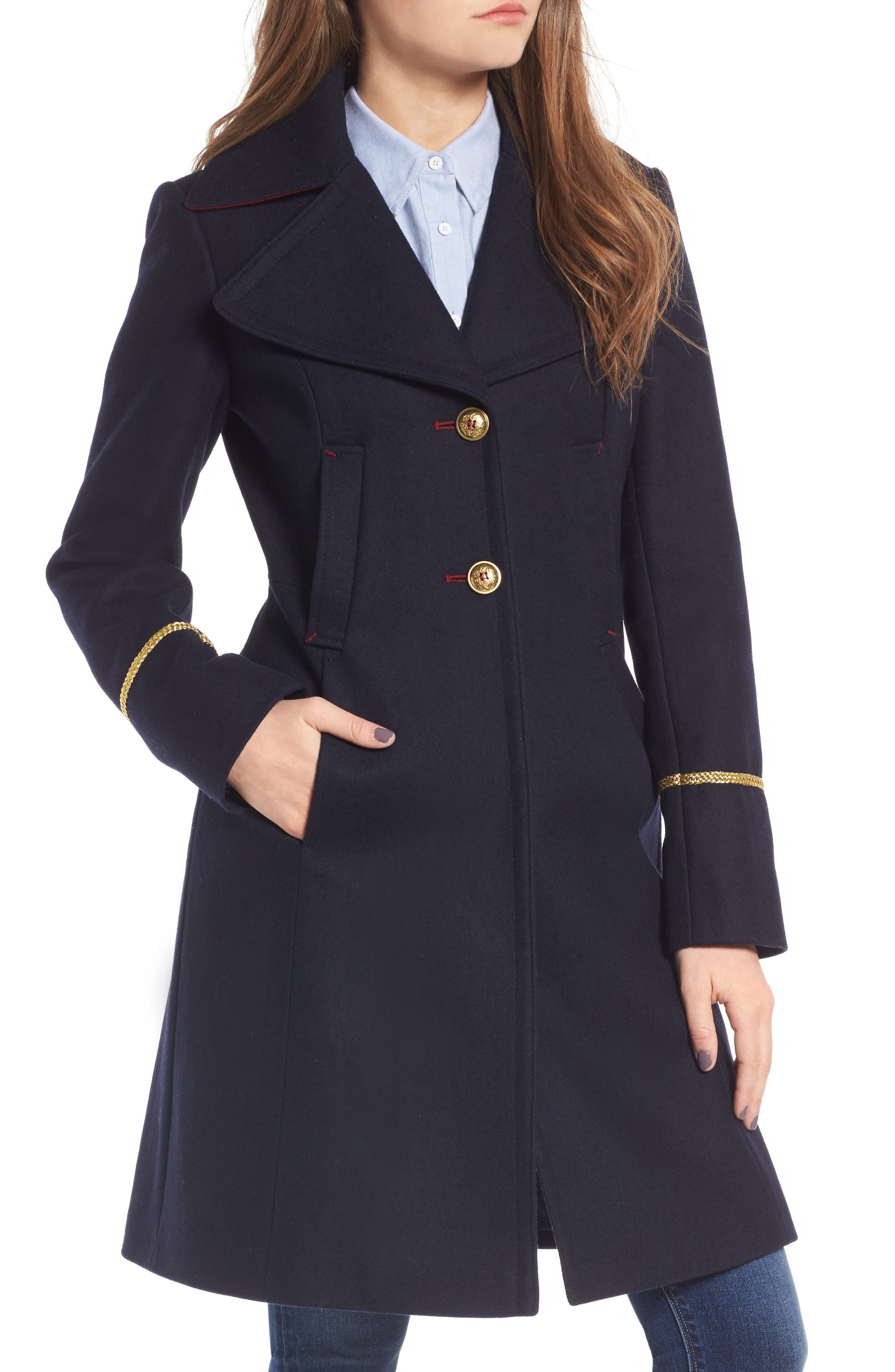 Alternate Image 4  - Sam Edelman Wool Blend A-Line Military Coat