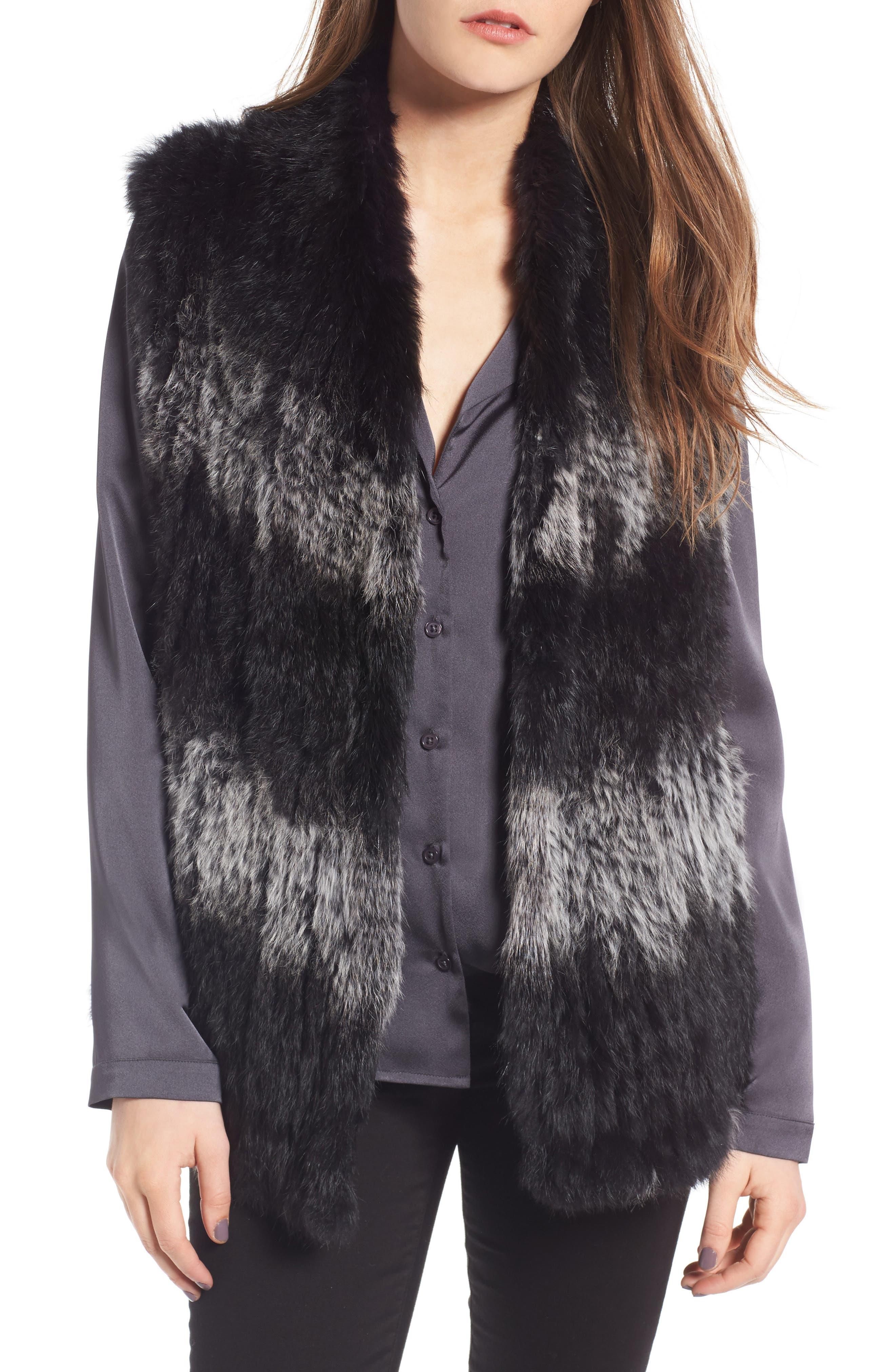 Genuine Rabbit Fur Vest,                         Main,                         color, Black W/ Snow