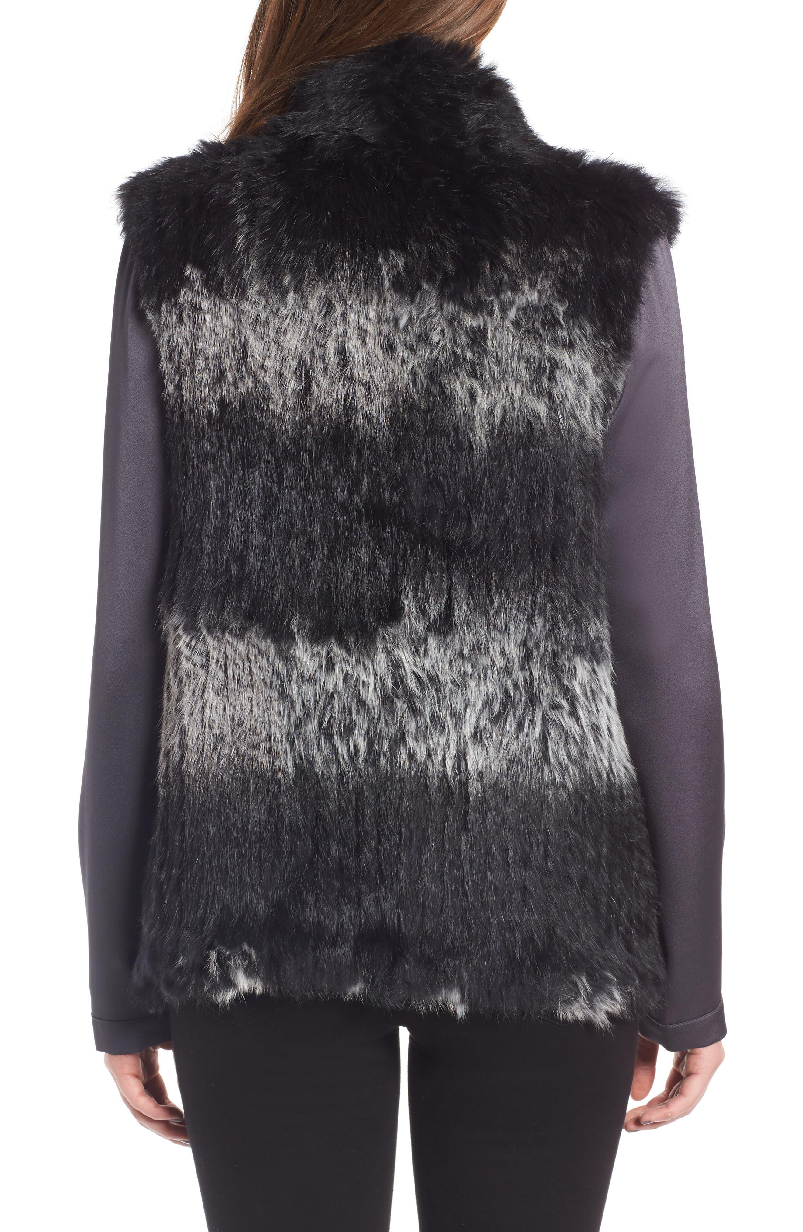 Genuine Rabbit Fur Vest,                             Alternate thumbnail 2, color,                             Black W/ Snow