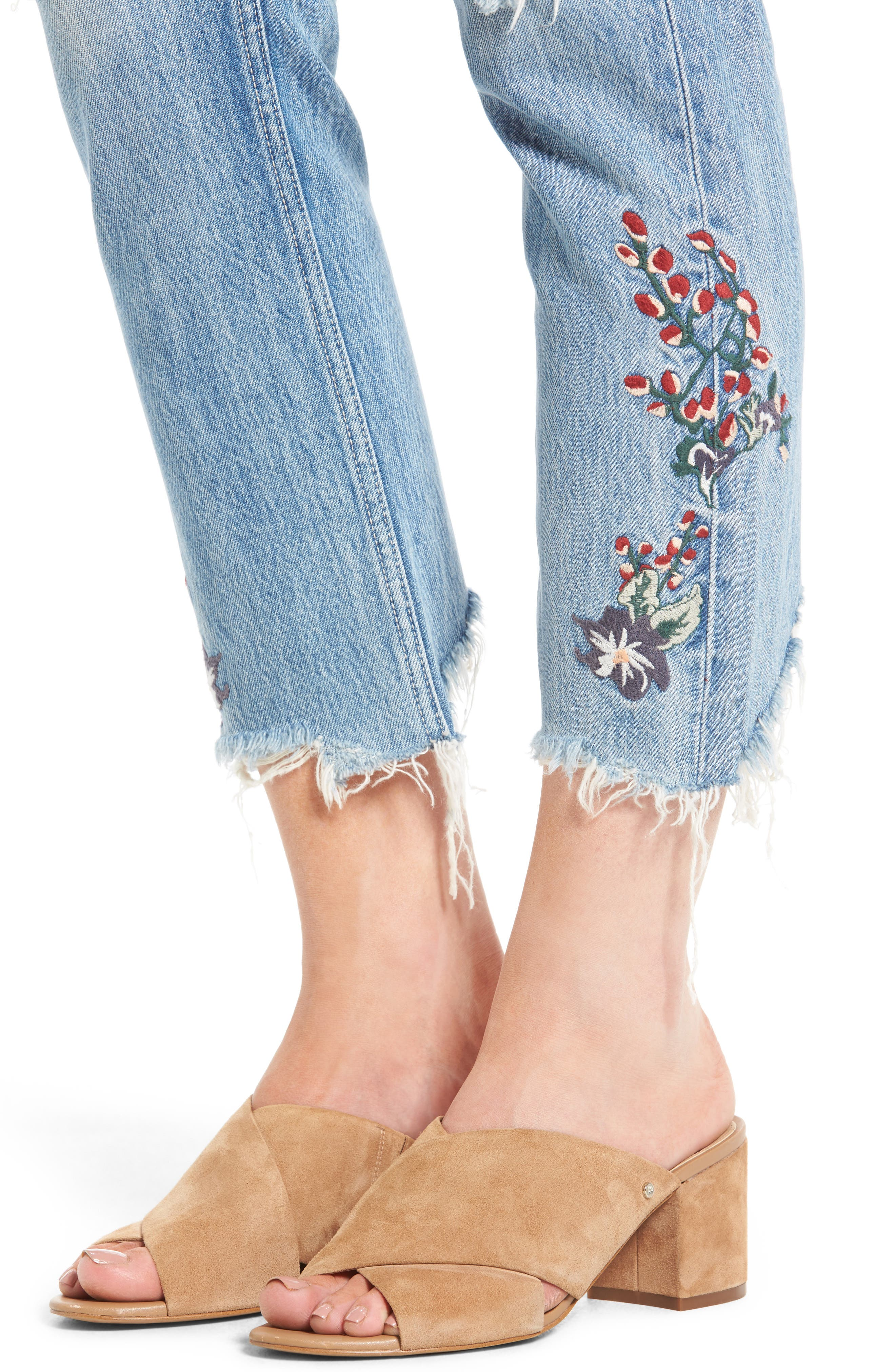 Hailey Embroidered Straight Leg Crop Jeans,                             Alternate thumbnail 5, color,                             Tala