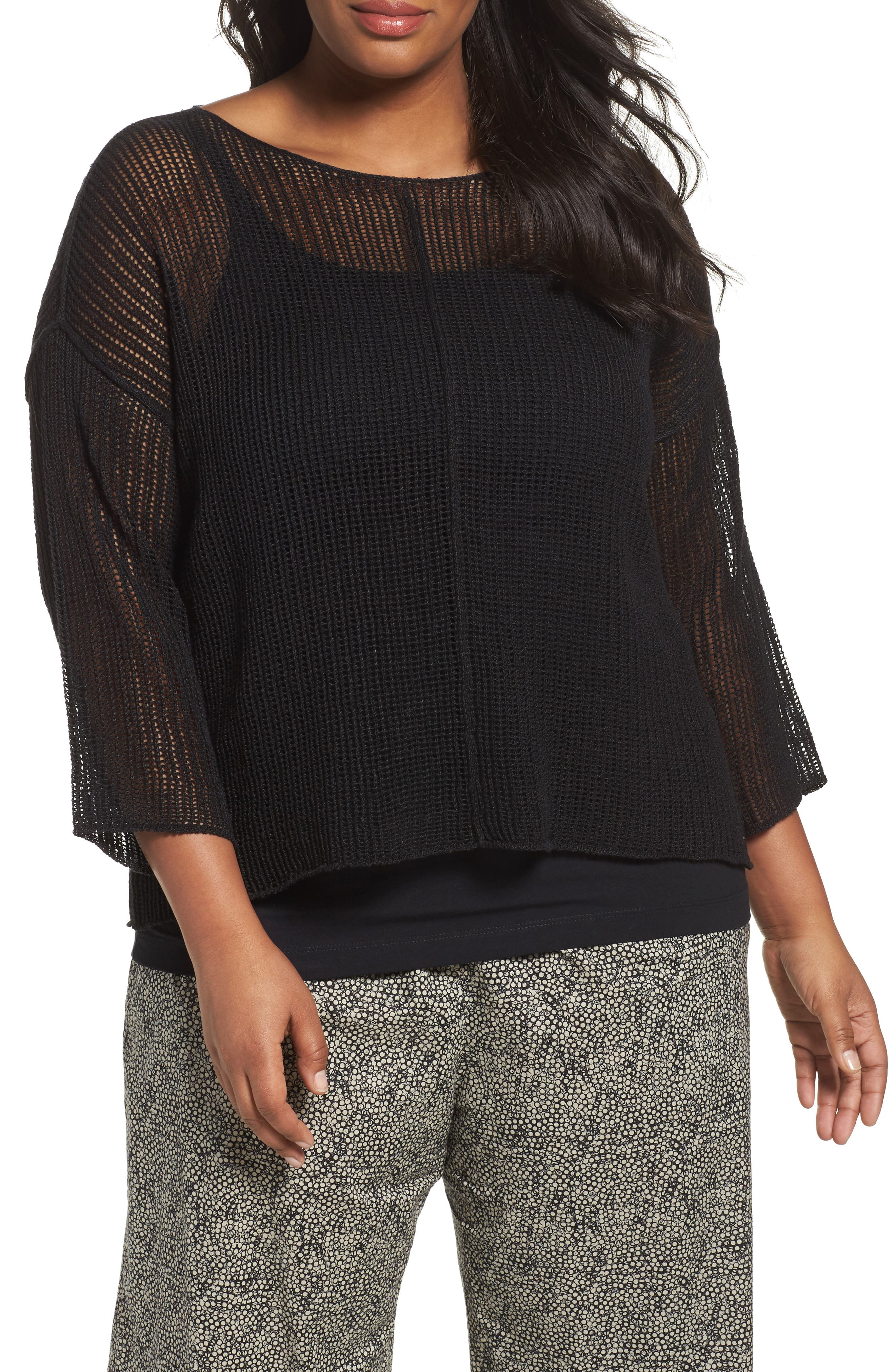 Alternate Image 1 Selected - Eileen Fisher Organic Linen Mesh Knit Top (Plus Size)