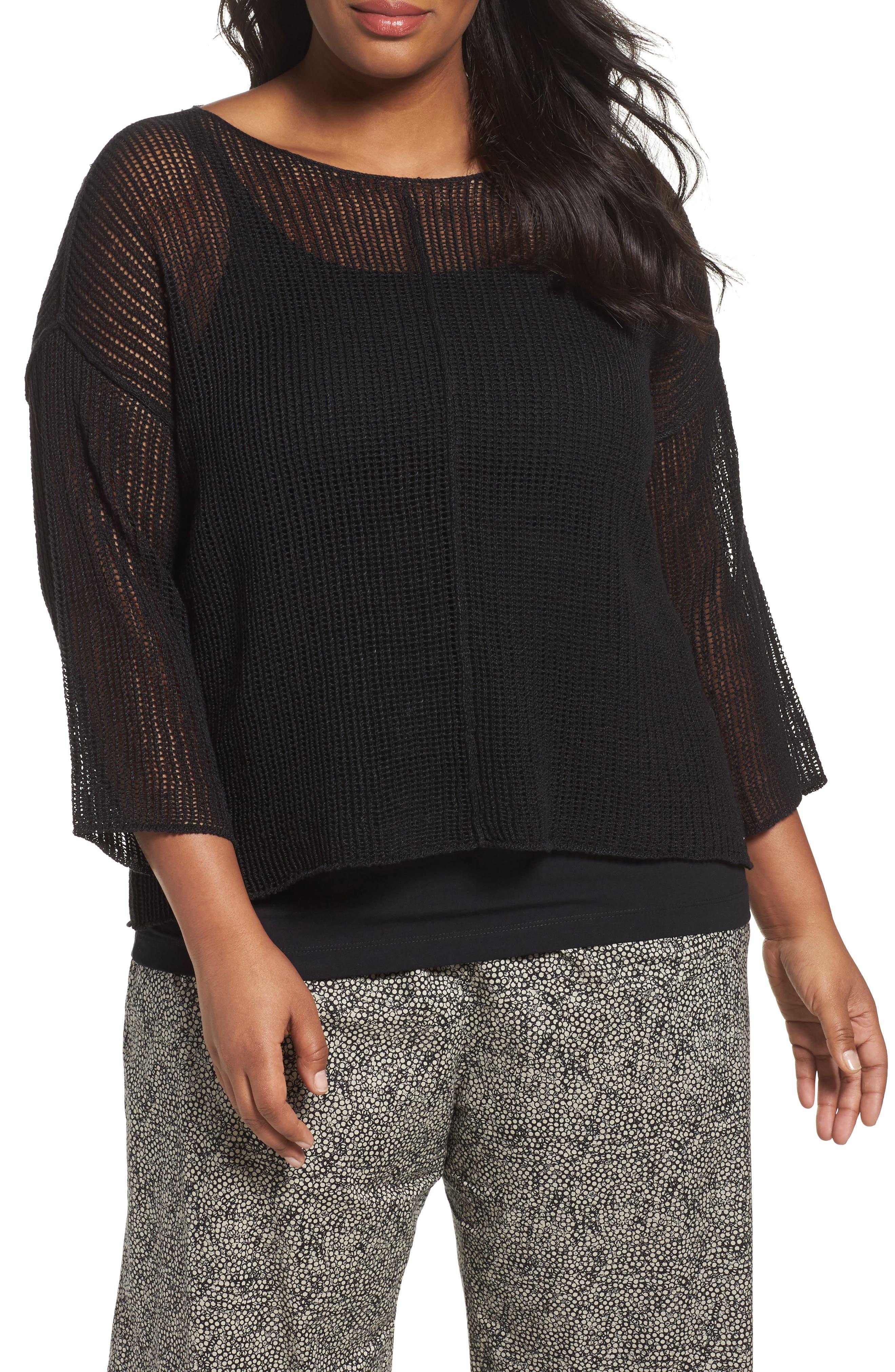 Organic Linen Mesh Knit Top,                             Main thumbnail 1, color,                             Black