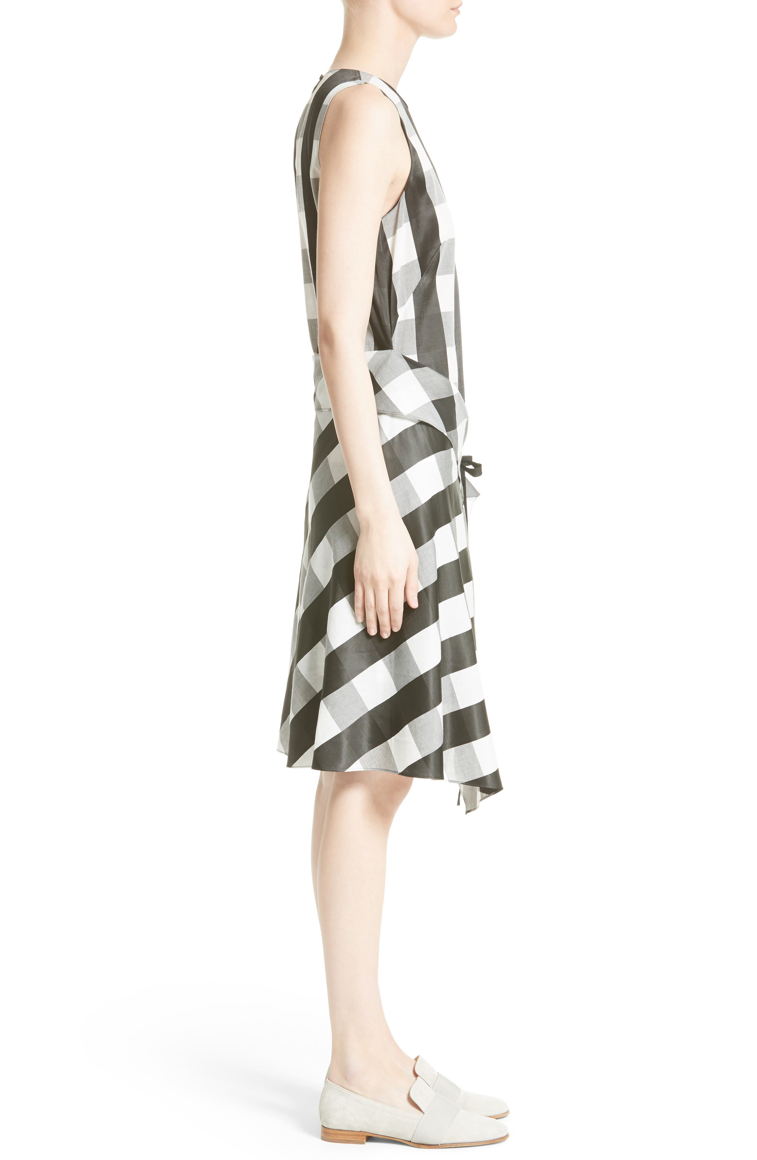 Brighton Asymmetrical Dress,                             Alternate thumbnail 3, color,                             Black/ White