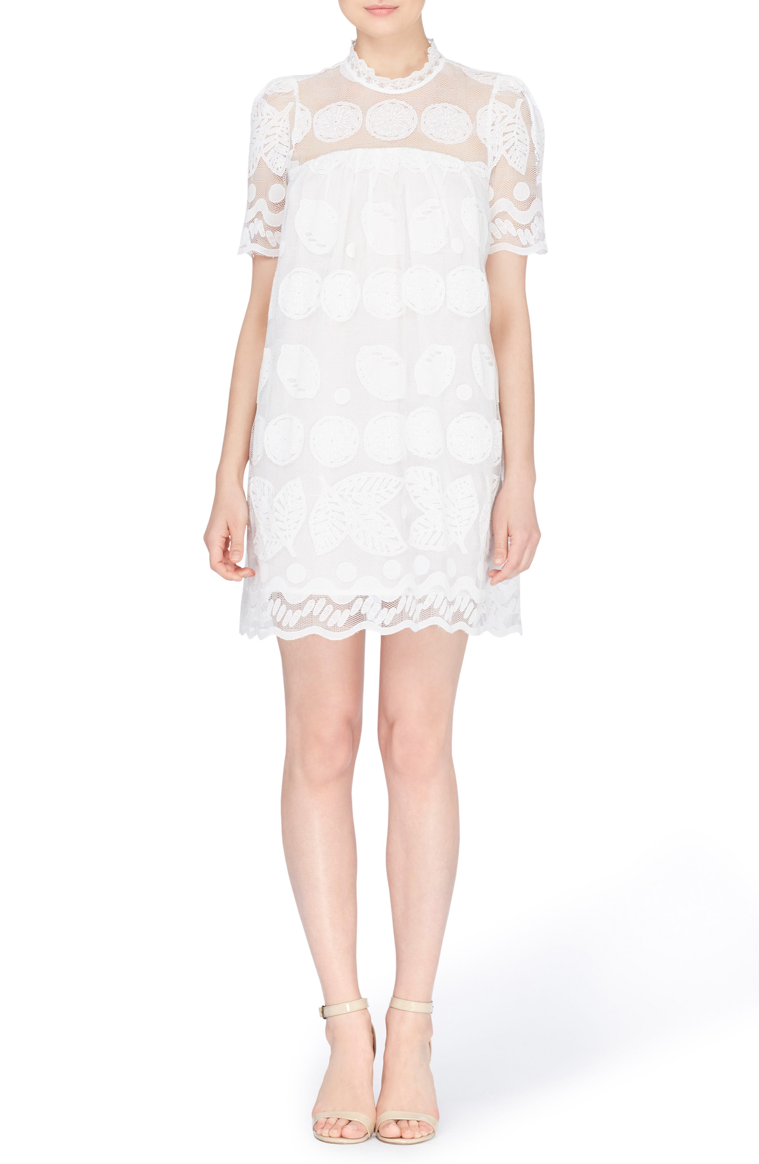 Mona Embroidered Lace Shift Dress,                             Main thumbnail 1, color,                             Bright White