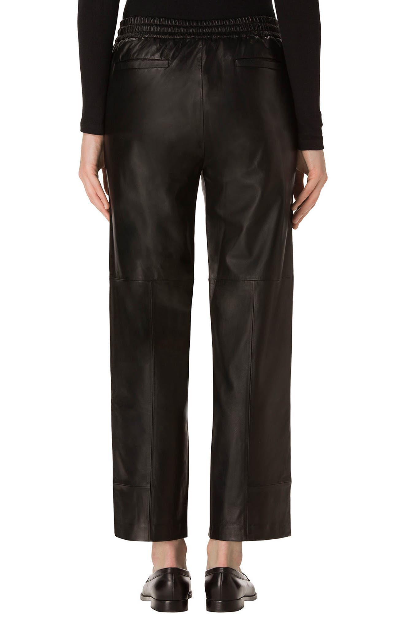 Amari Crop Leather Pants,                             Alternate thumbnail 2, color,                             Black