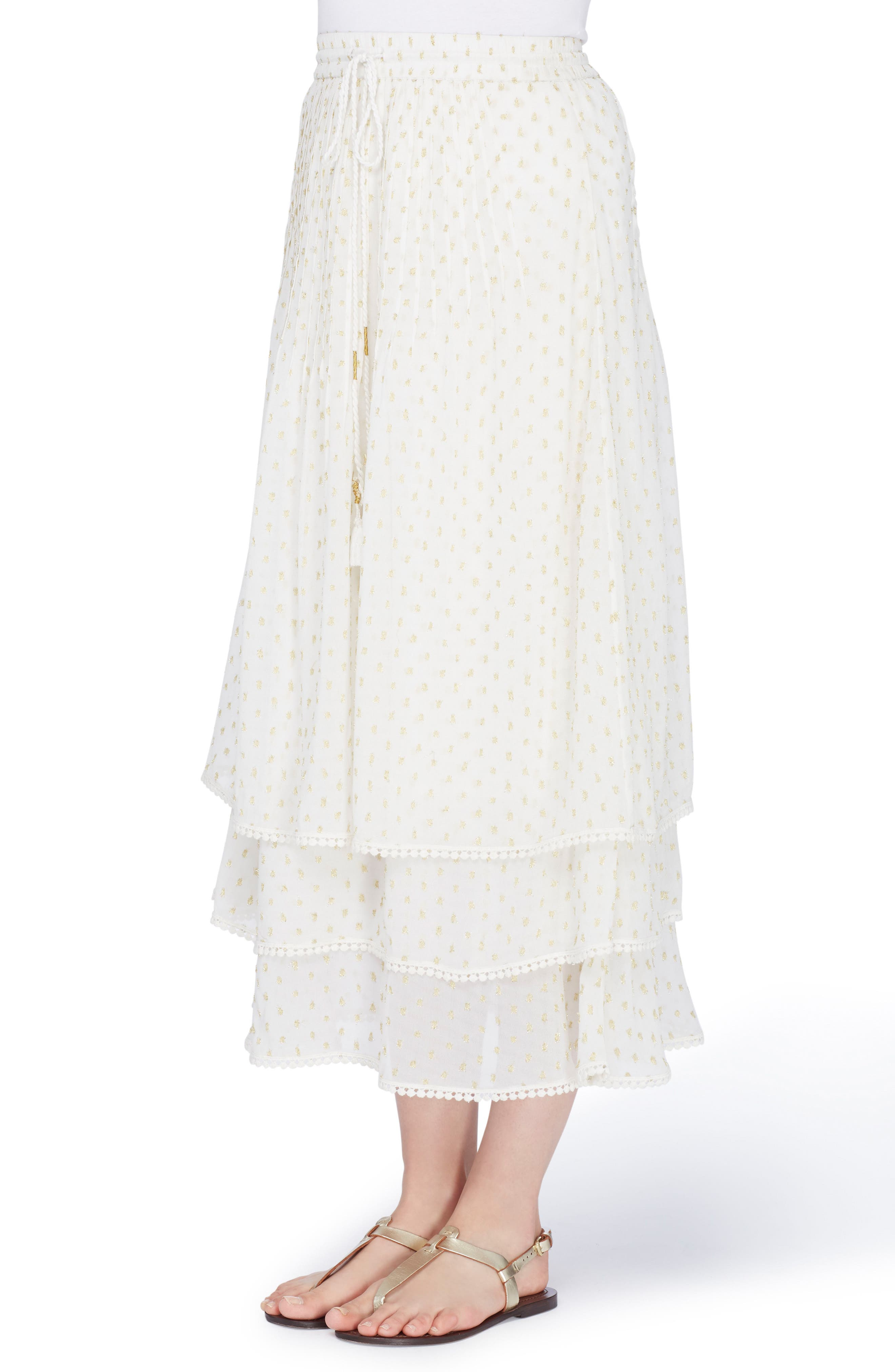 Berbas Clipped Jacquard Tiered Skirt,                         Main,                         color, Off White/ Gold