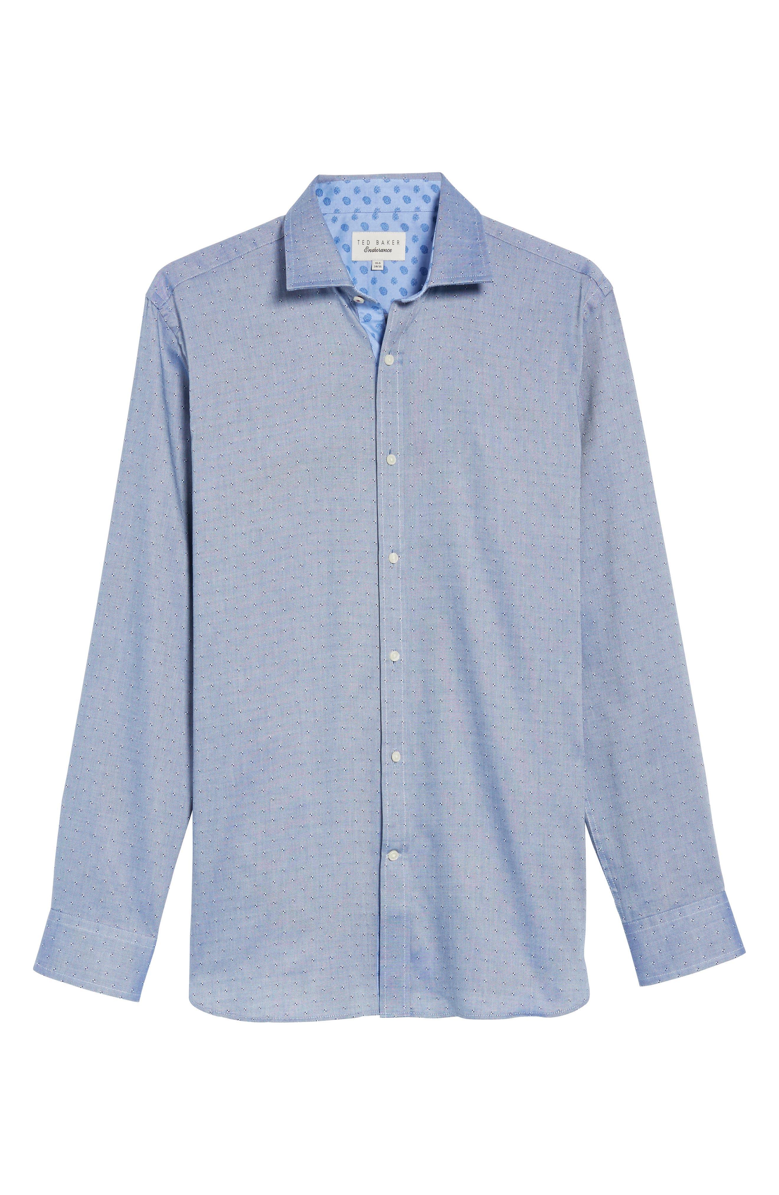 Jamer Trim Fit Dot Dress Shirt,                             Alternate thumbnail 5, color,                             Navy