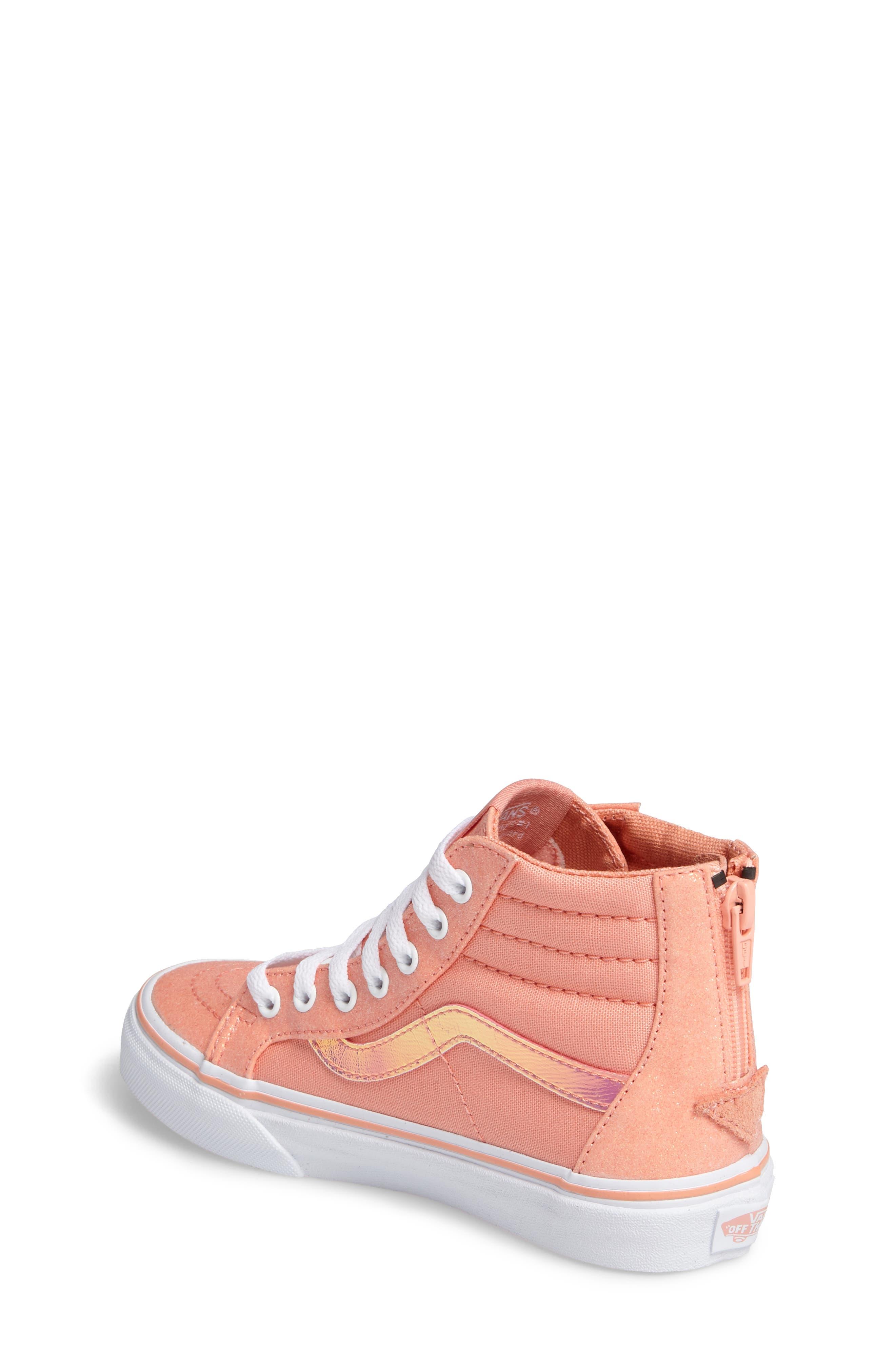 Sk8-Hi Zip Sneaker,                             Alternate thumbnail 2, color,                             Coral Glitter/ Iridescent